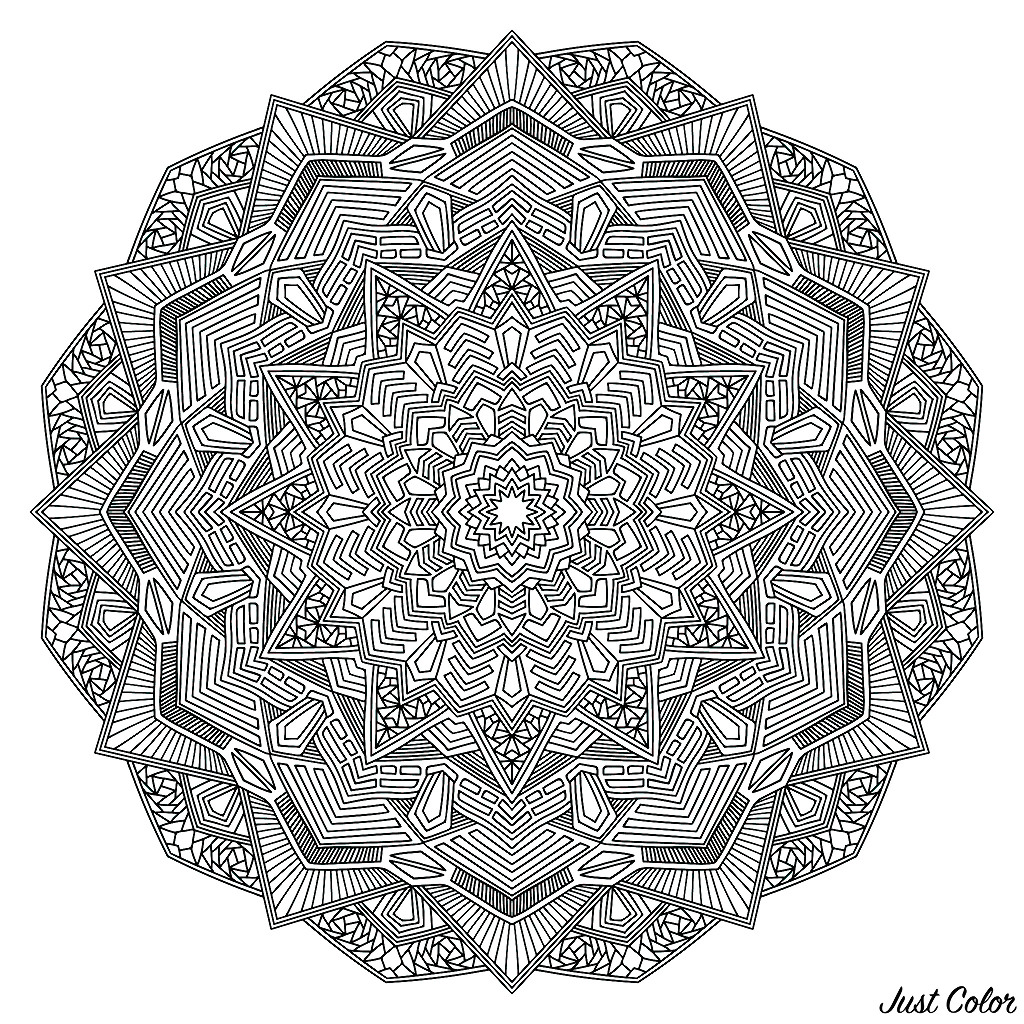 Outline Mandala Flower for Coloring Page. Intricate black mandala.