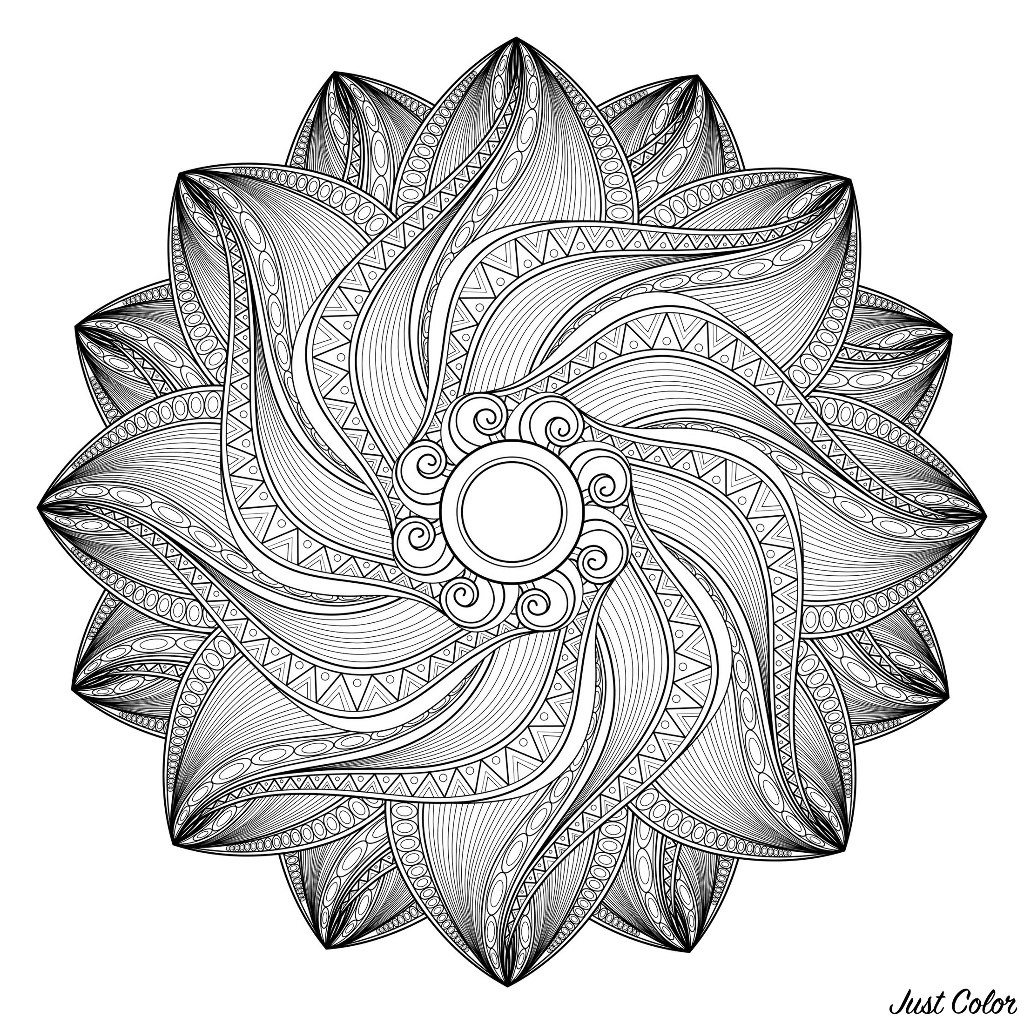 Monochrome Contour Mandala. Patterned Design Element, Indian Ethnic Amulet