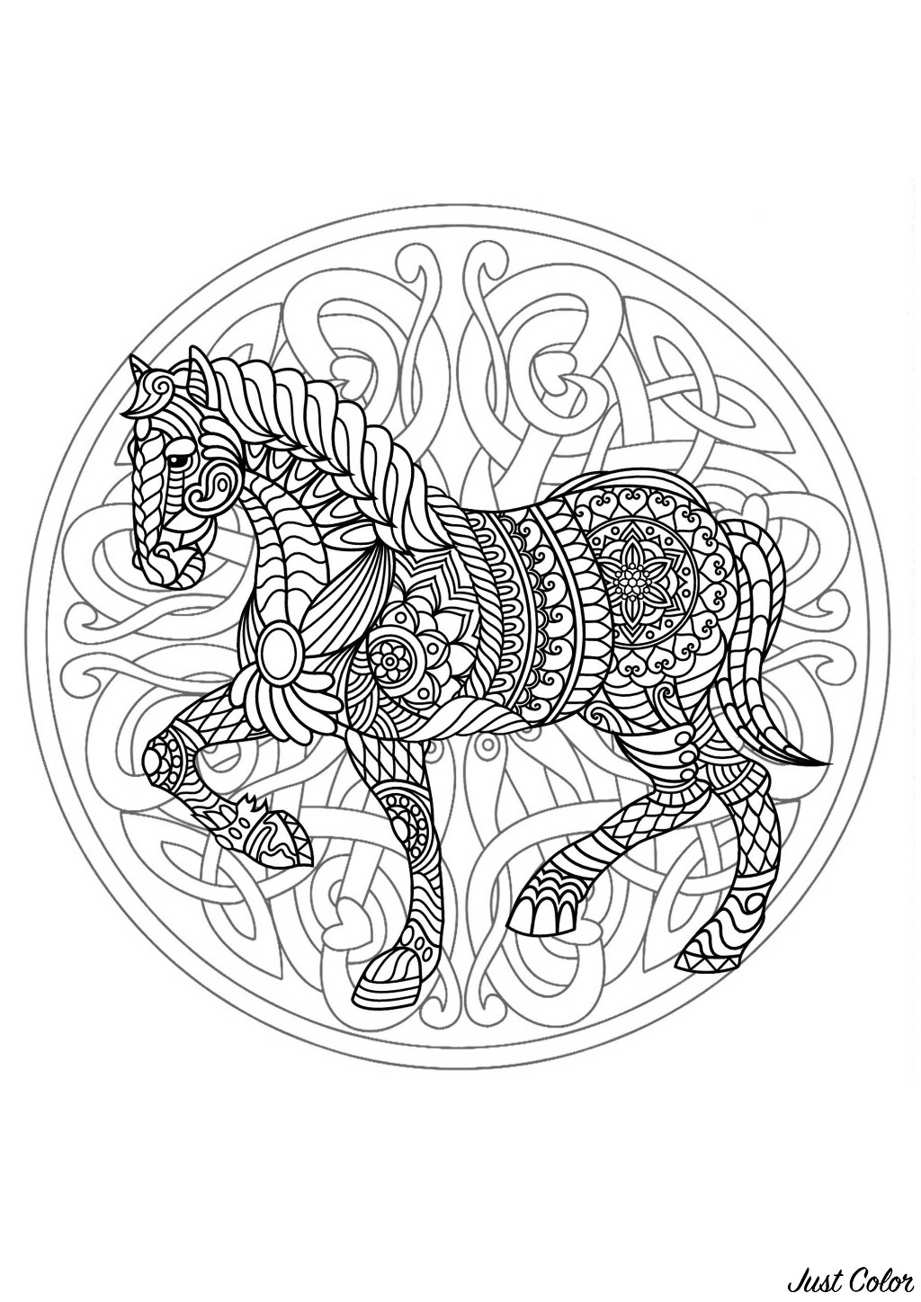 Mandala to color with elegant Horse and interlaced patterns in background