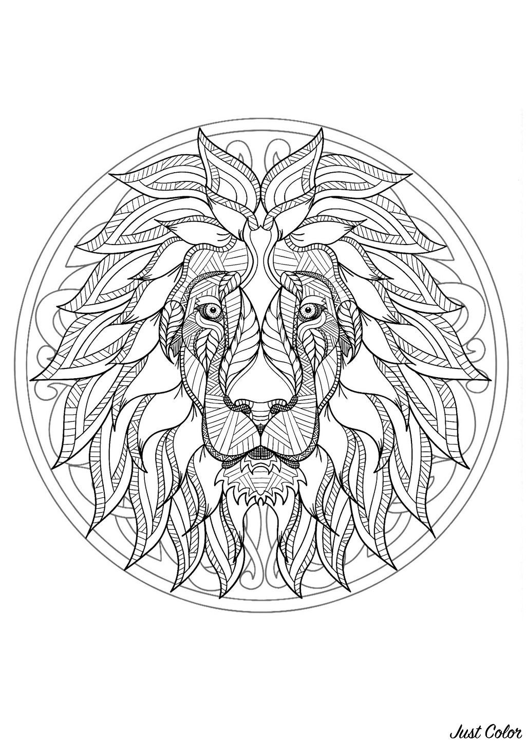 Coloring page with Lion head and beautiful Mandala in background