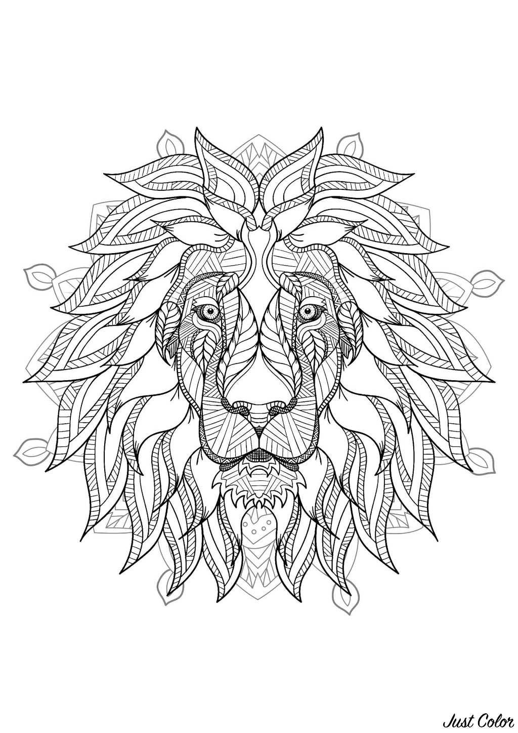 Mandala to color with very elegant Lion head and beautiful vegetal patterns in background