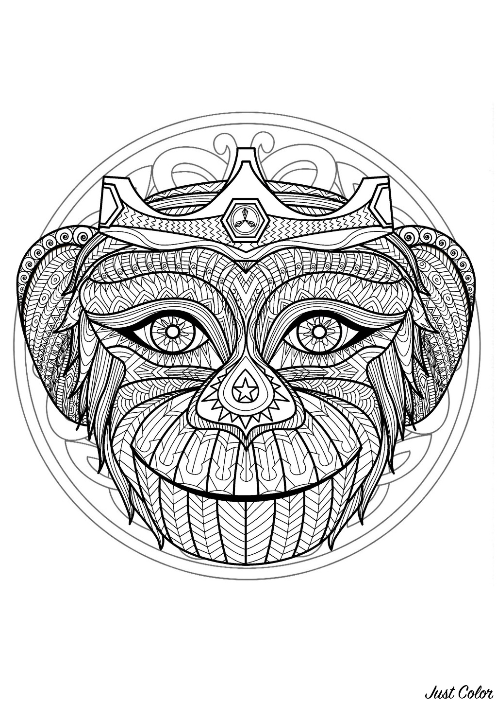 Mandala With Gorgeous Monkey Head And Geometric Patterns