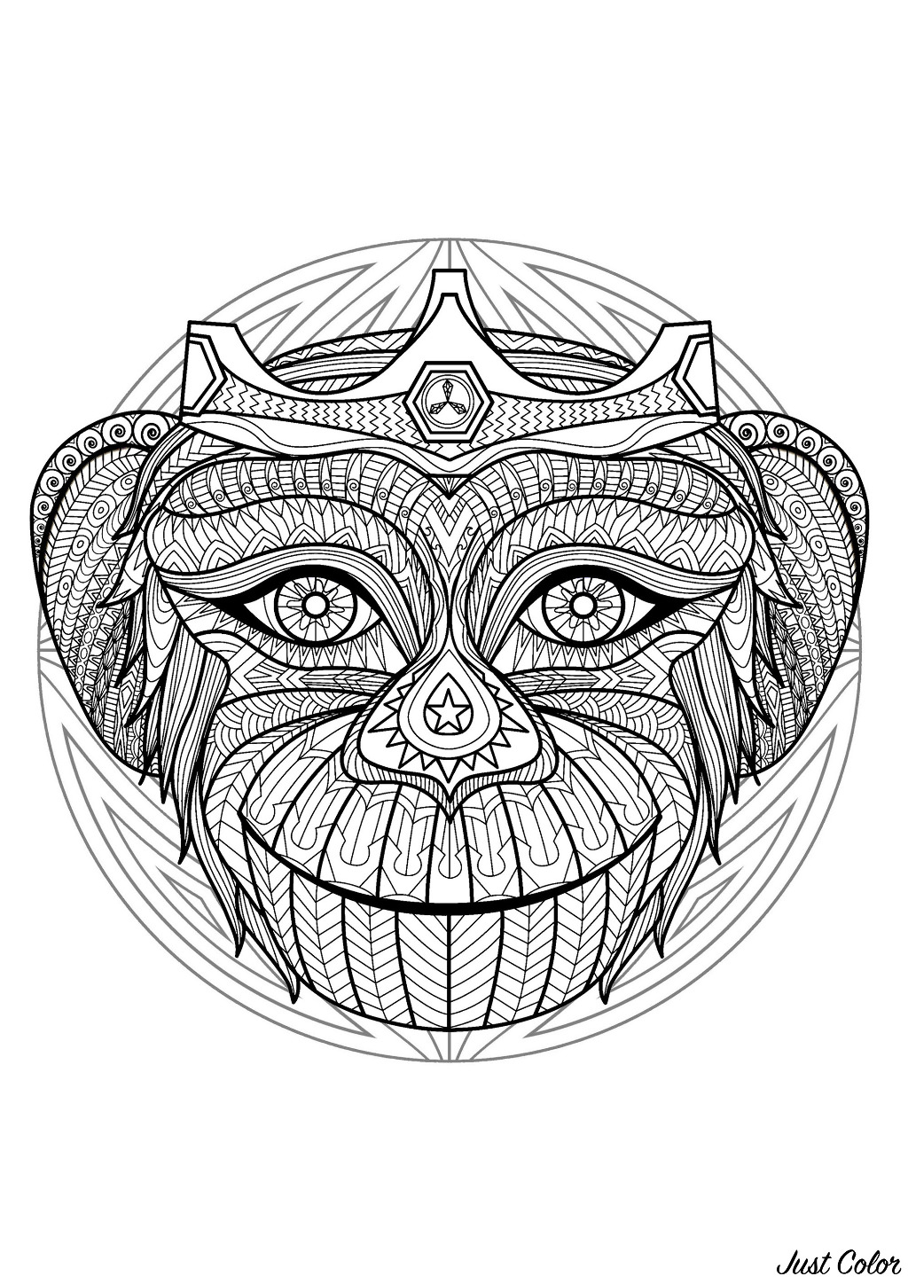 Mandala to color with very special Monkey head and simple patterns in background