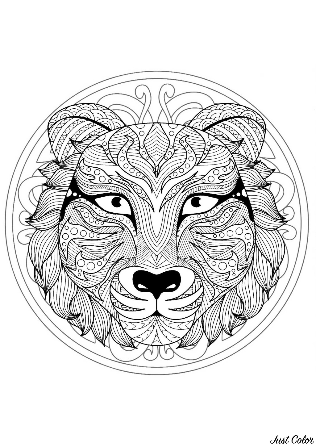 Mandala to color with very gorgeous Tiger head and beautiful interlaced patterns in background