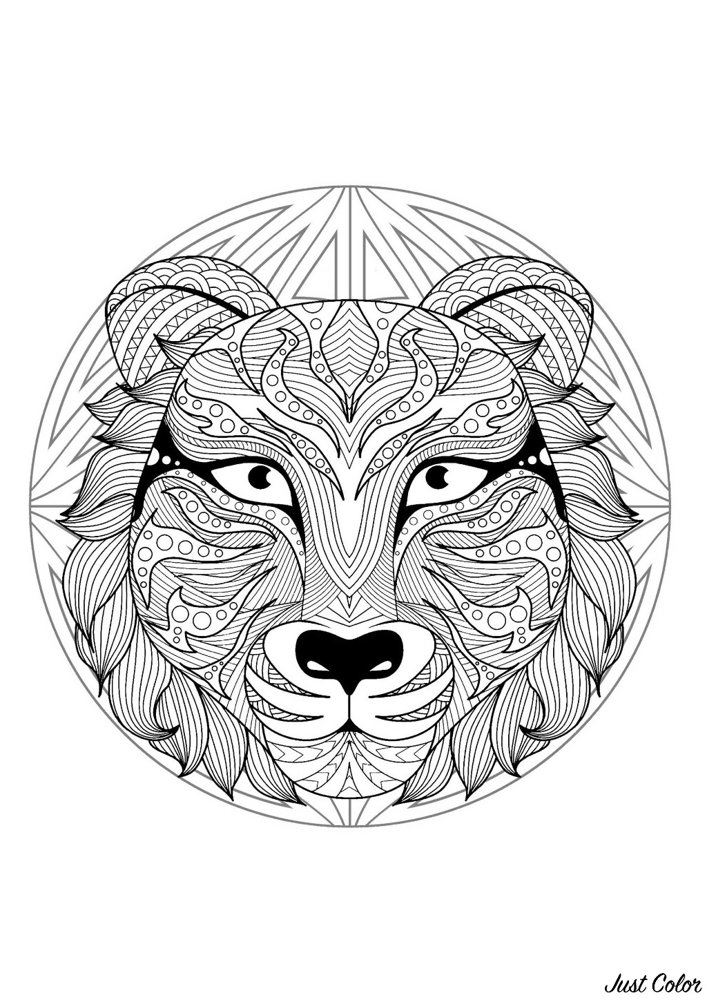 Mandala to color with very special Tiger head and simple patterns in background