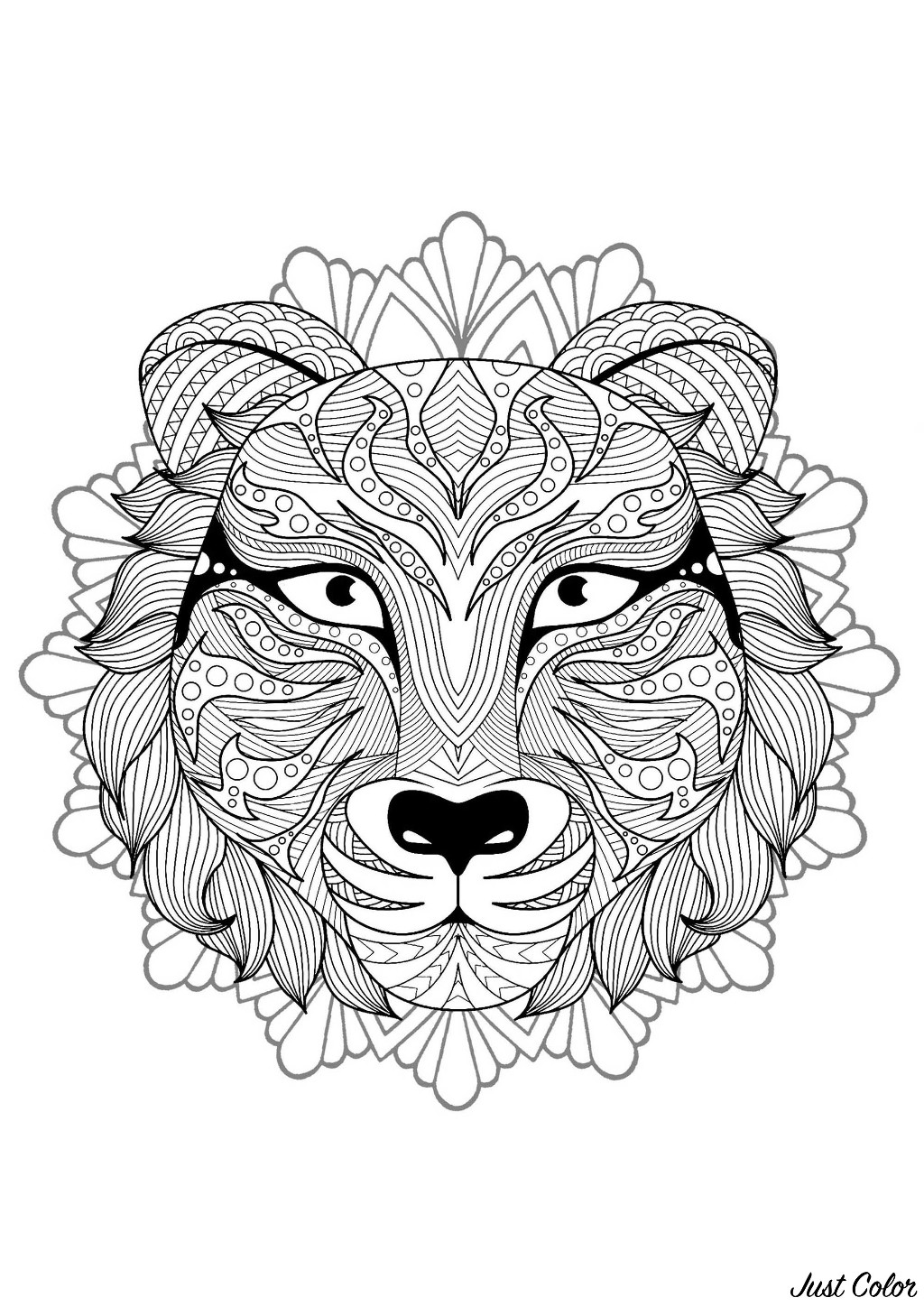 Mandala to color with magnificent Tiger head and floral / rounded patterns in background
