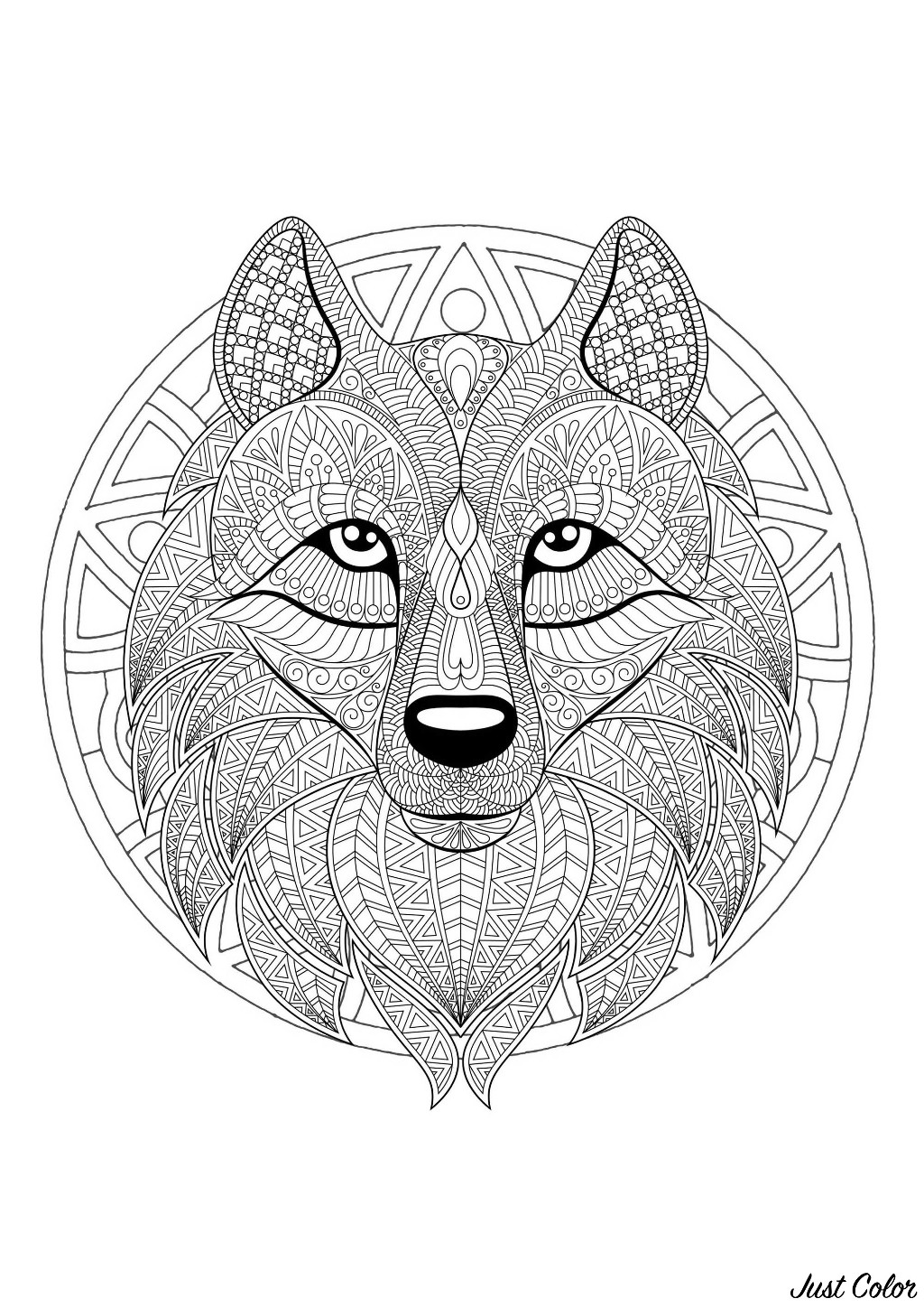 Mandala to color with patterns and incredible Wolf head