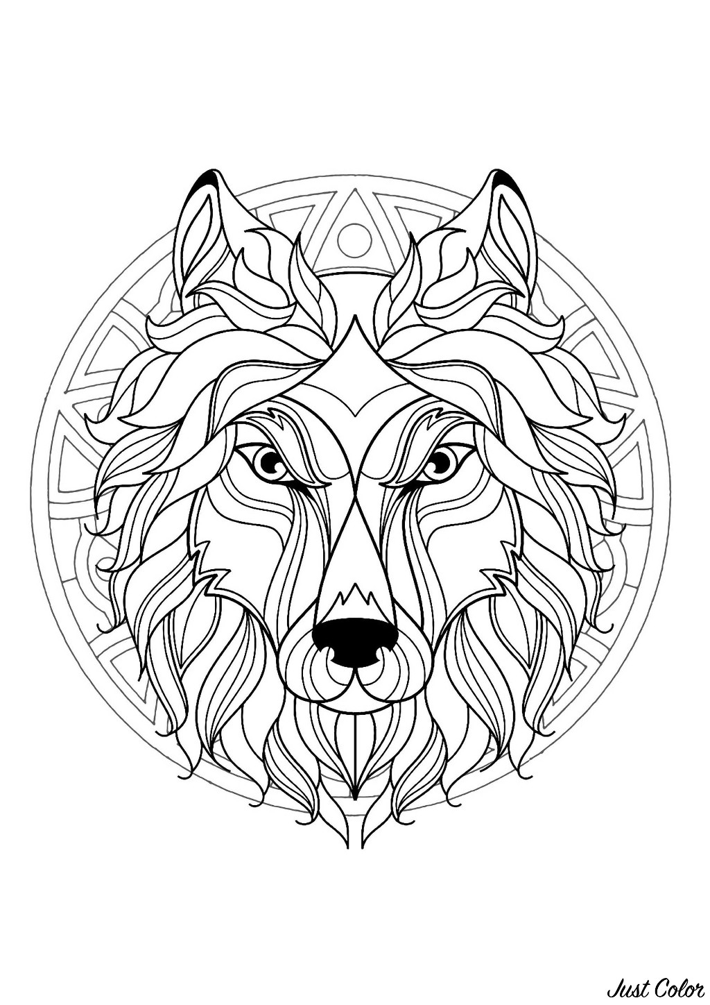 Mandala to color with beautiful Wolf head and geometric patterns in background