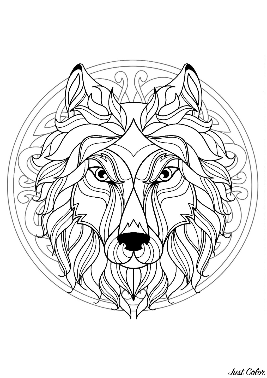 Mandala to color with Wolf head and complex patterns in background