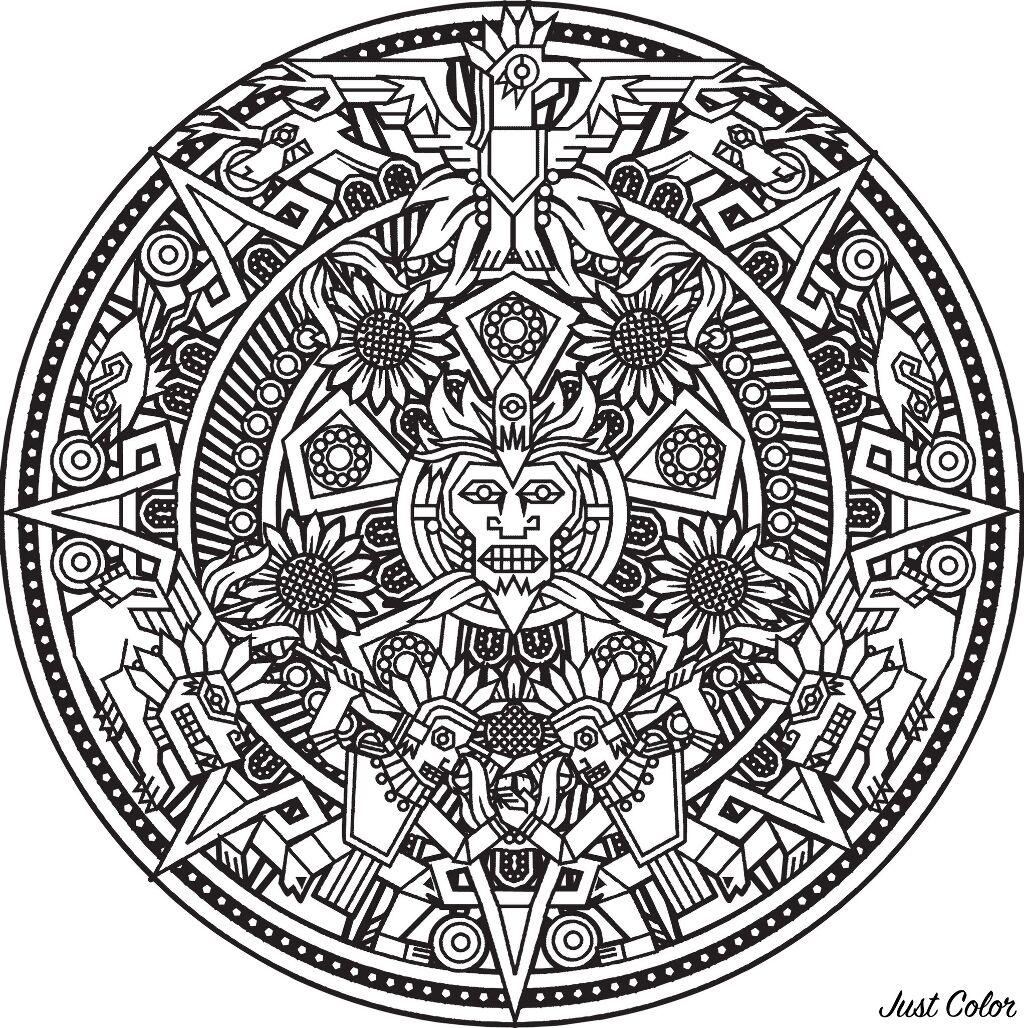 Mandala inspired by Inca, Maya and Aztec art