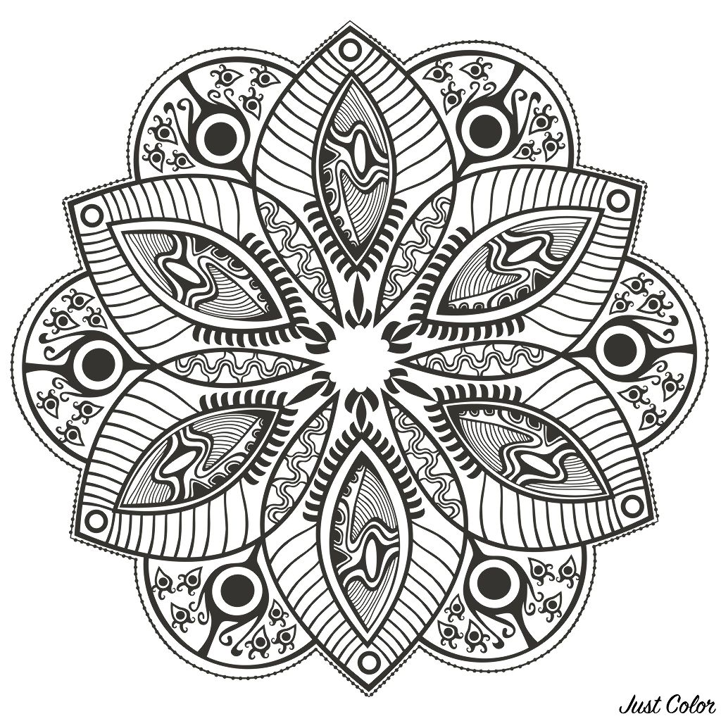 Mandala Original Flower Mandalas Adult Coloring Pages