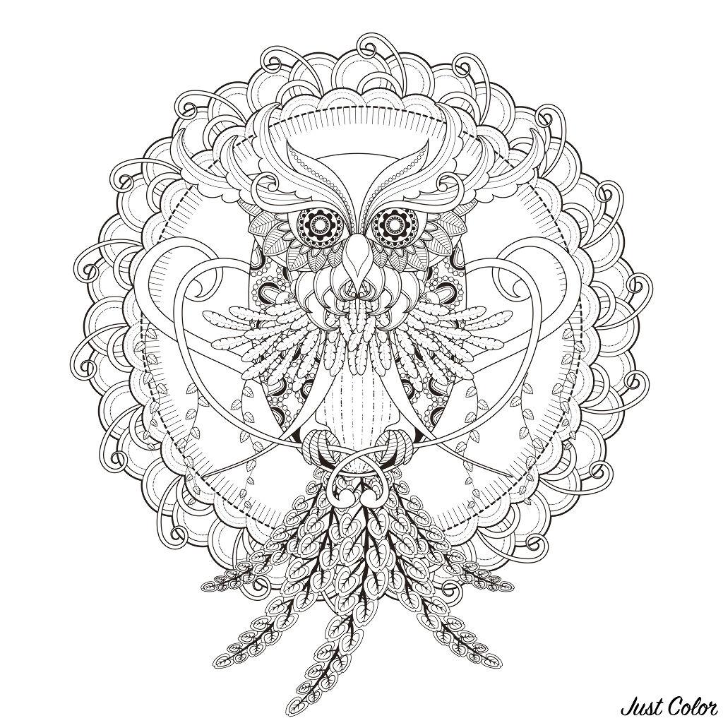 INCREDIBLE Owl Mandala coloring page