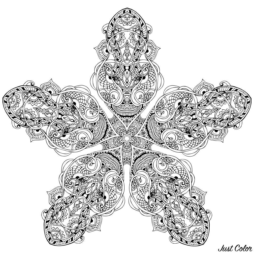 Strange Mandala forming a star with vegetal patterns