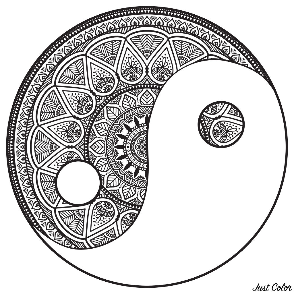 Mandala Yin And Yang To Color M Alas Adult Coloring Pages