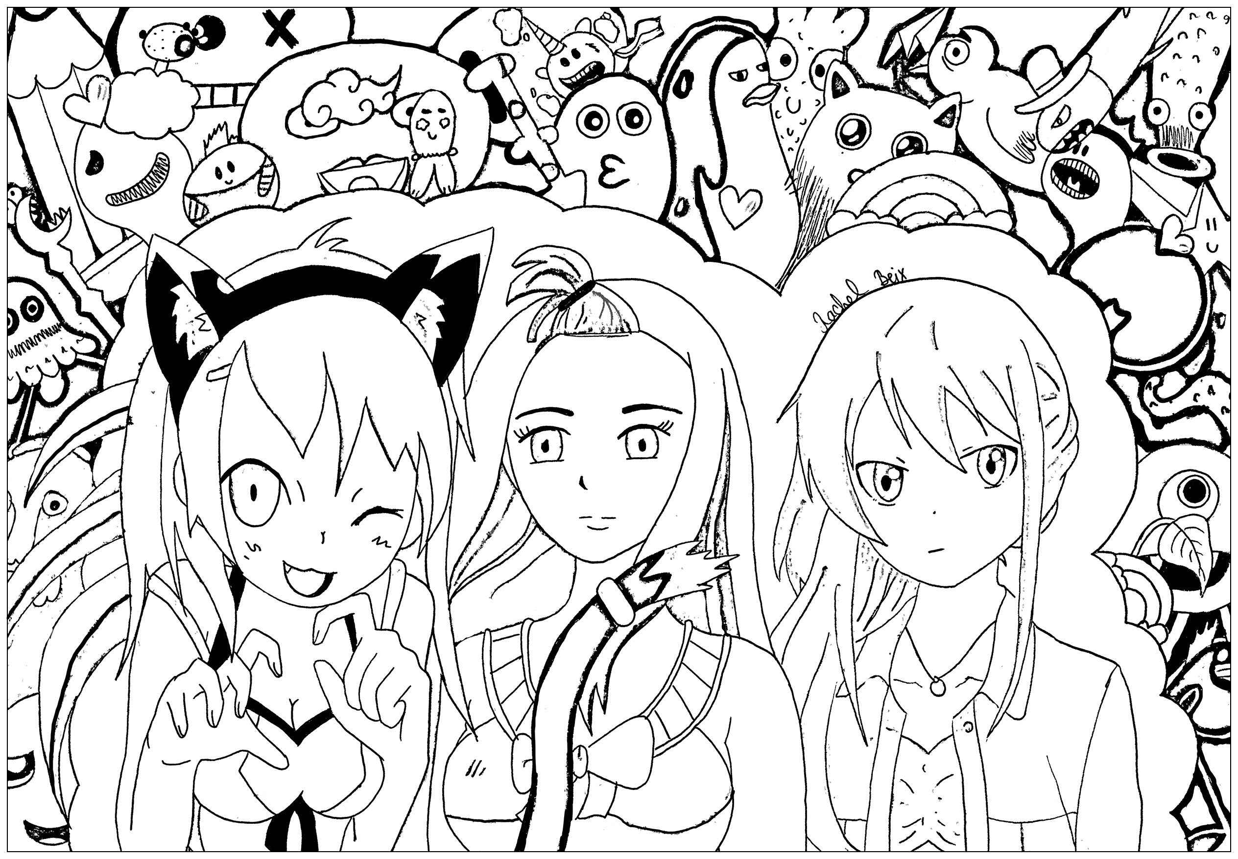 'Bazar' : Original Manga coloring page with 3 funny characters, and little kawaii characters in background