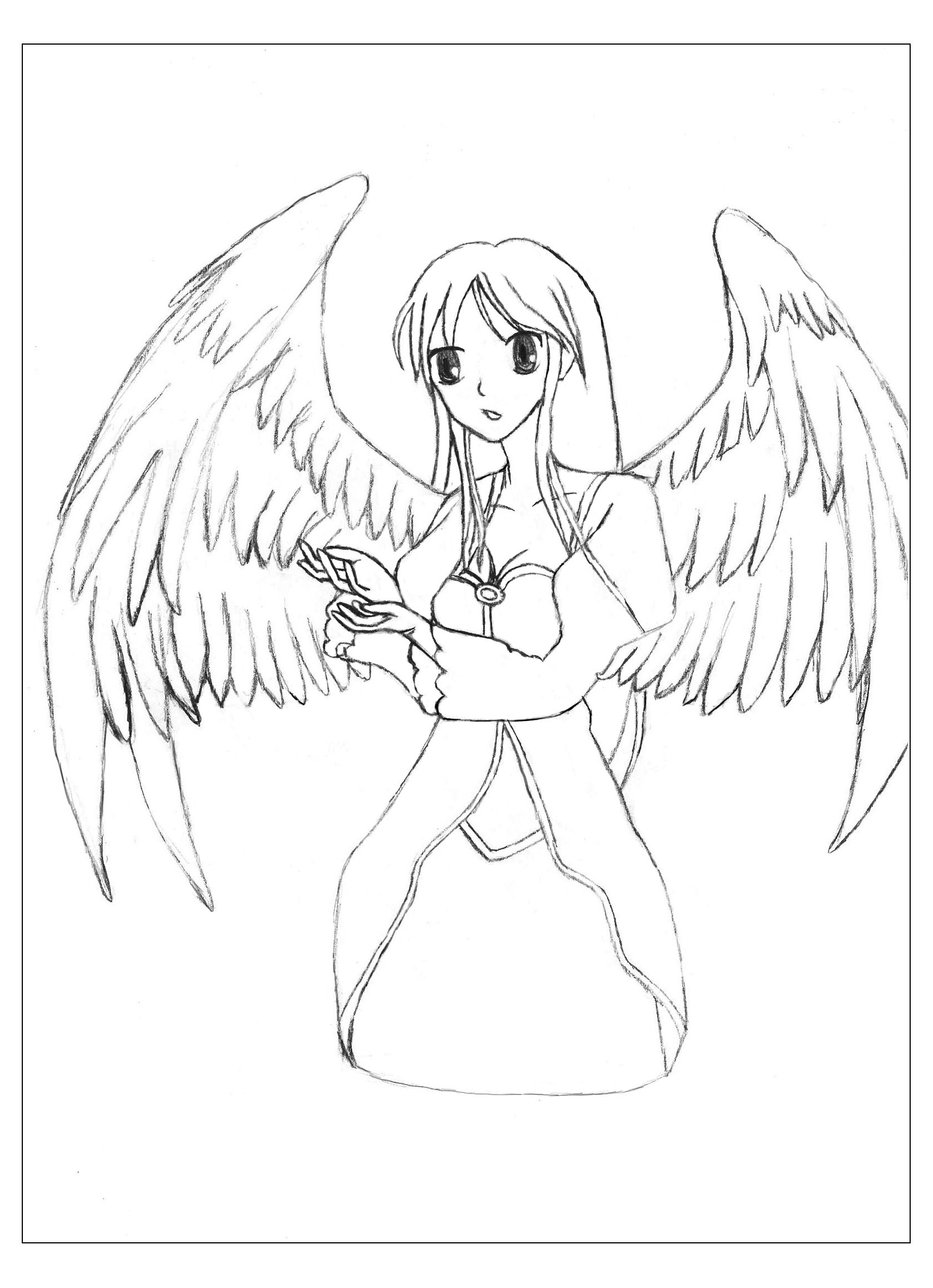 Manga Angel with beautiful wings