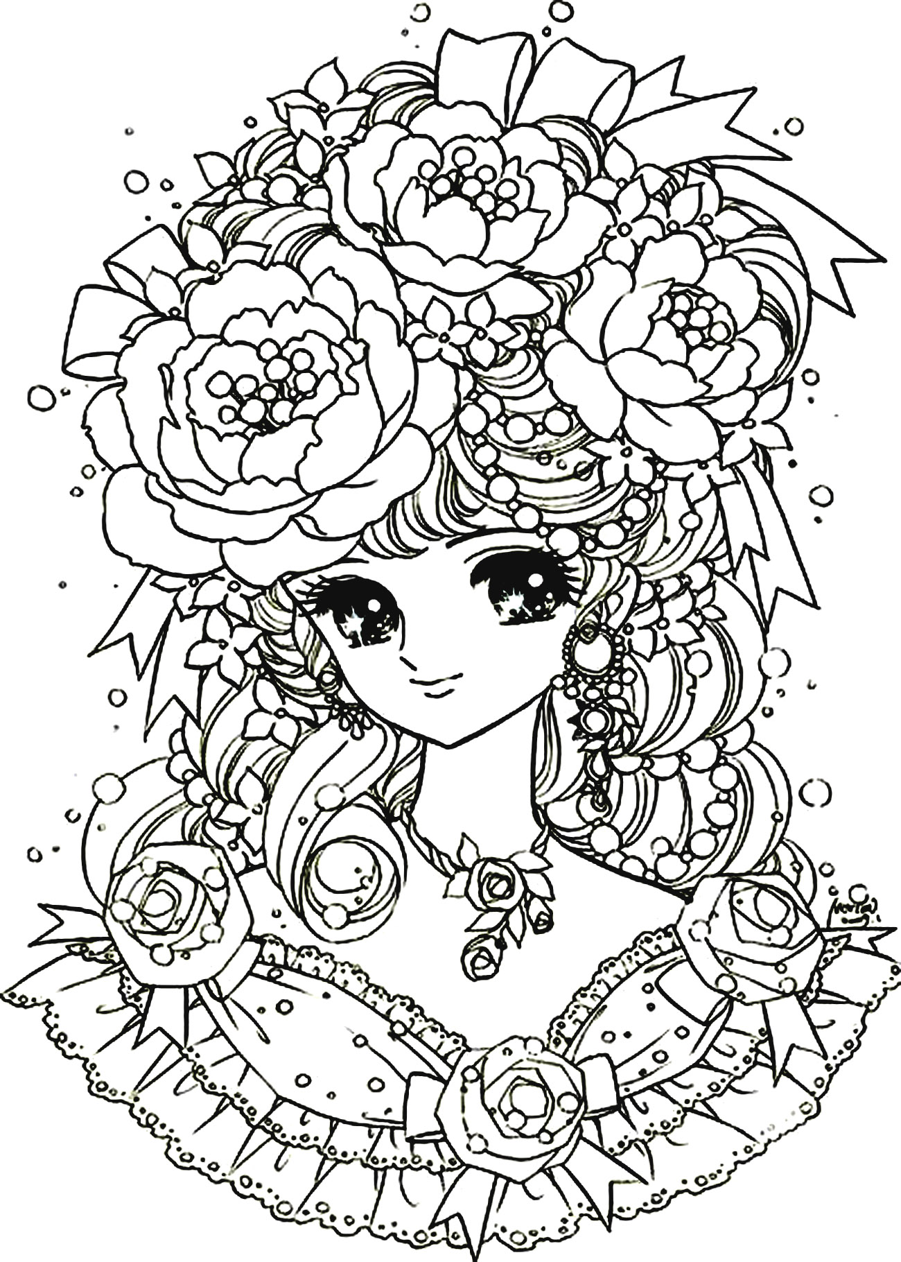 Manga flowers girl - Manga / Anime Adult Coloring Pages