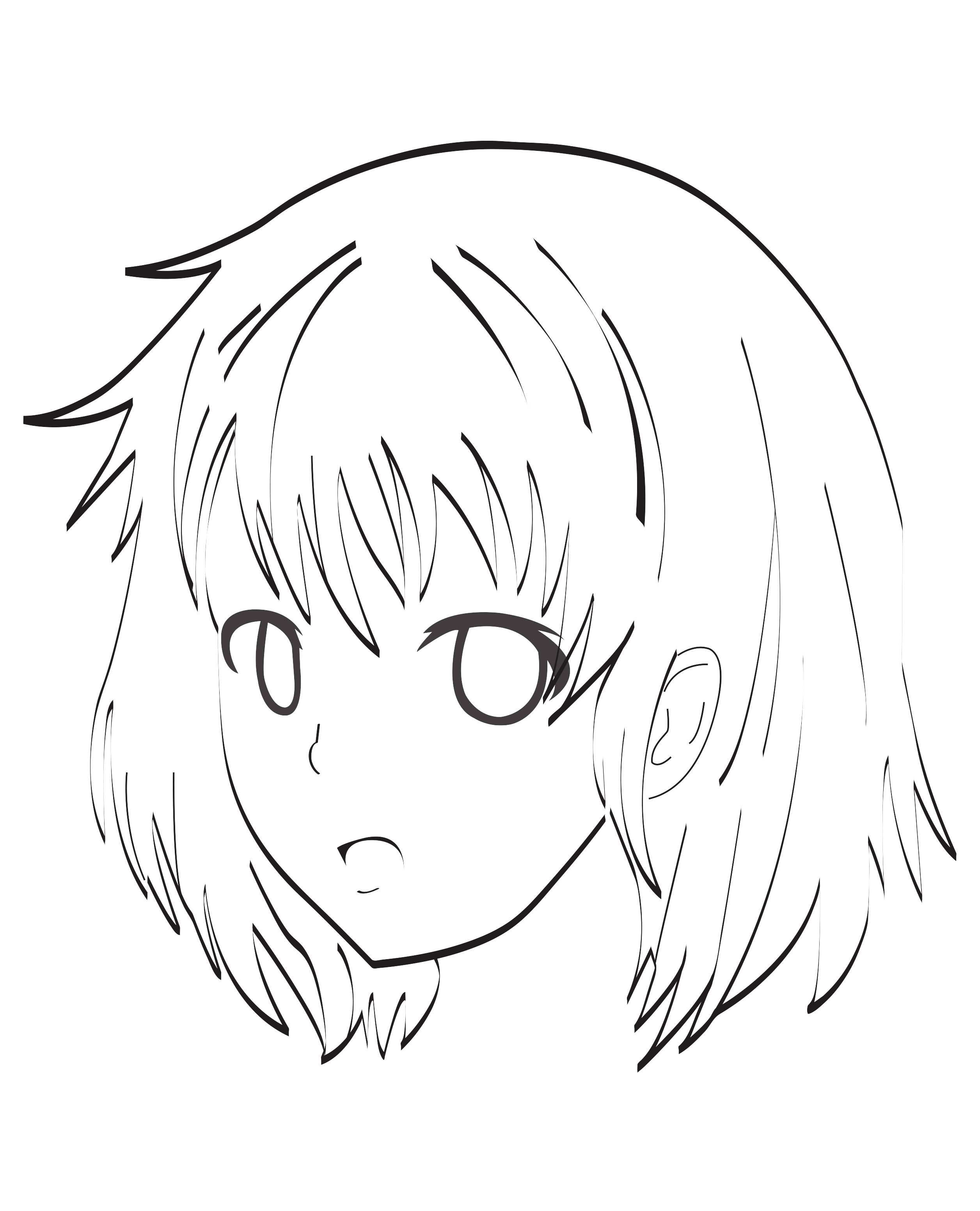 A very simple coloring page of a Manga female character face