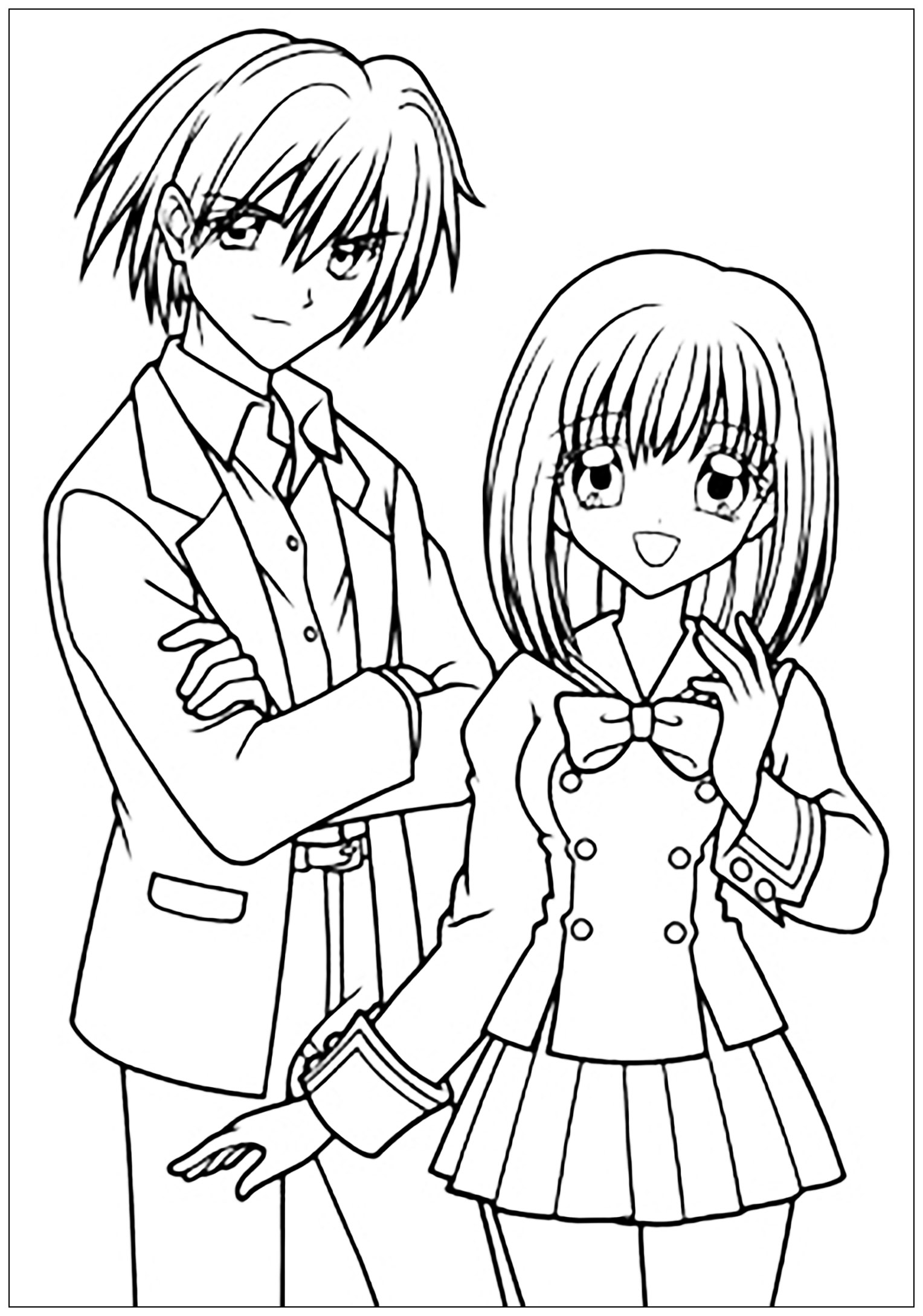 Manga drawing boy and girl in school