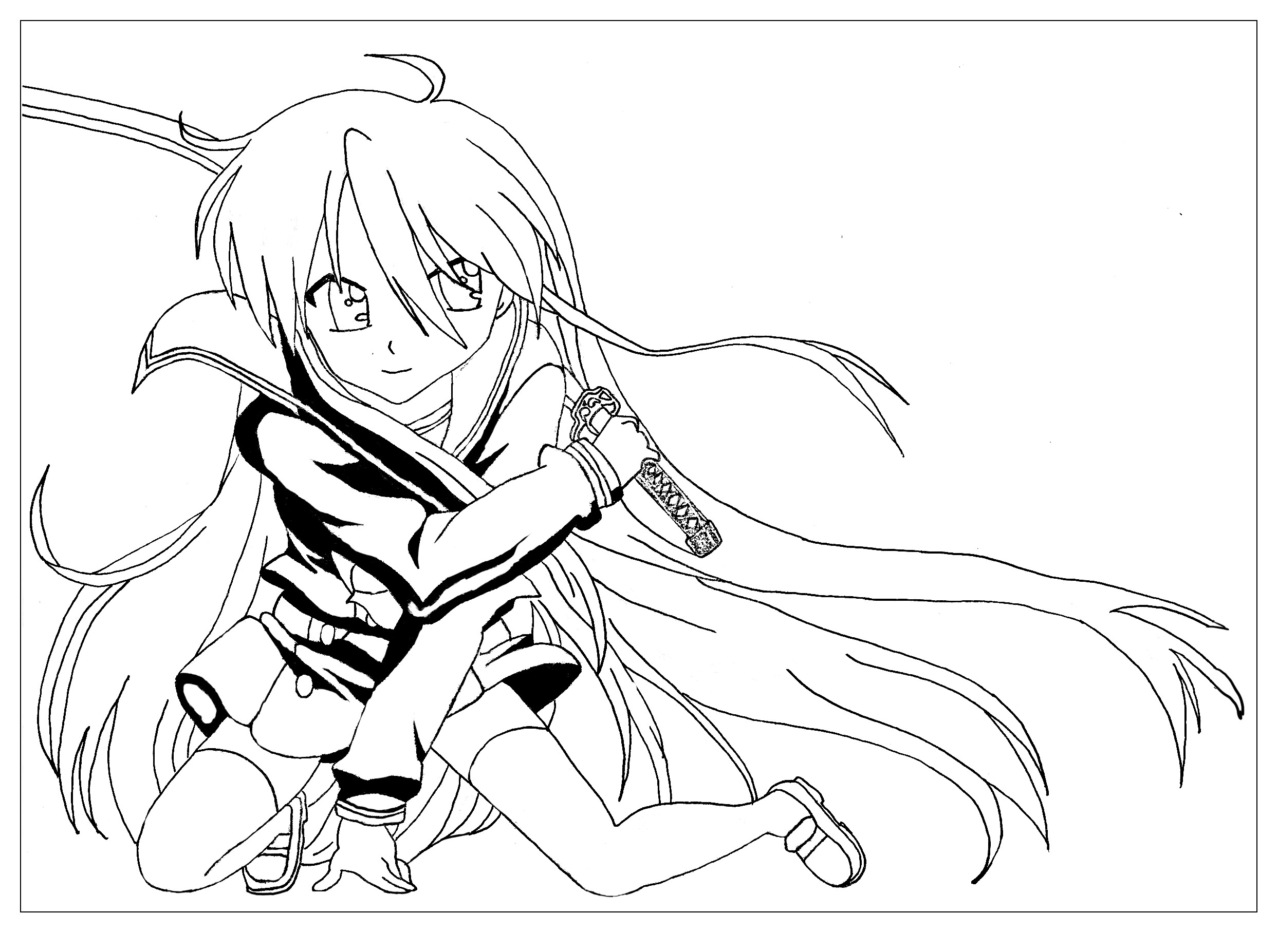 Original Manga coloring page : The saber warrior girl