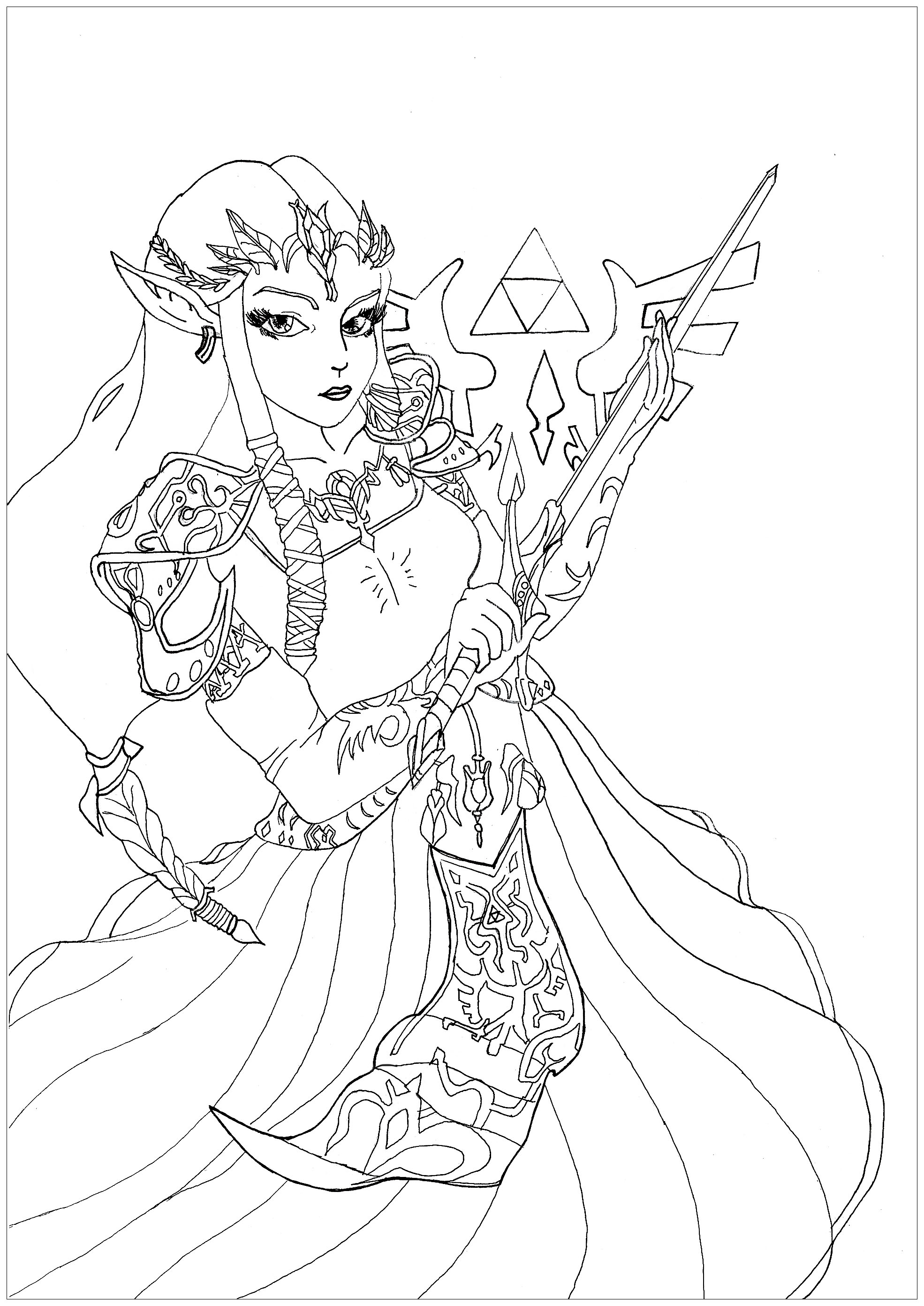 Coloring page of The Princess Zelda from the video game Twilight Princess