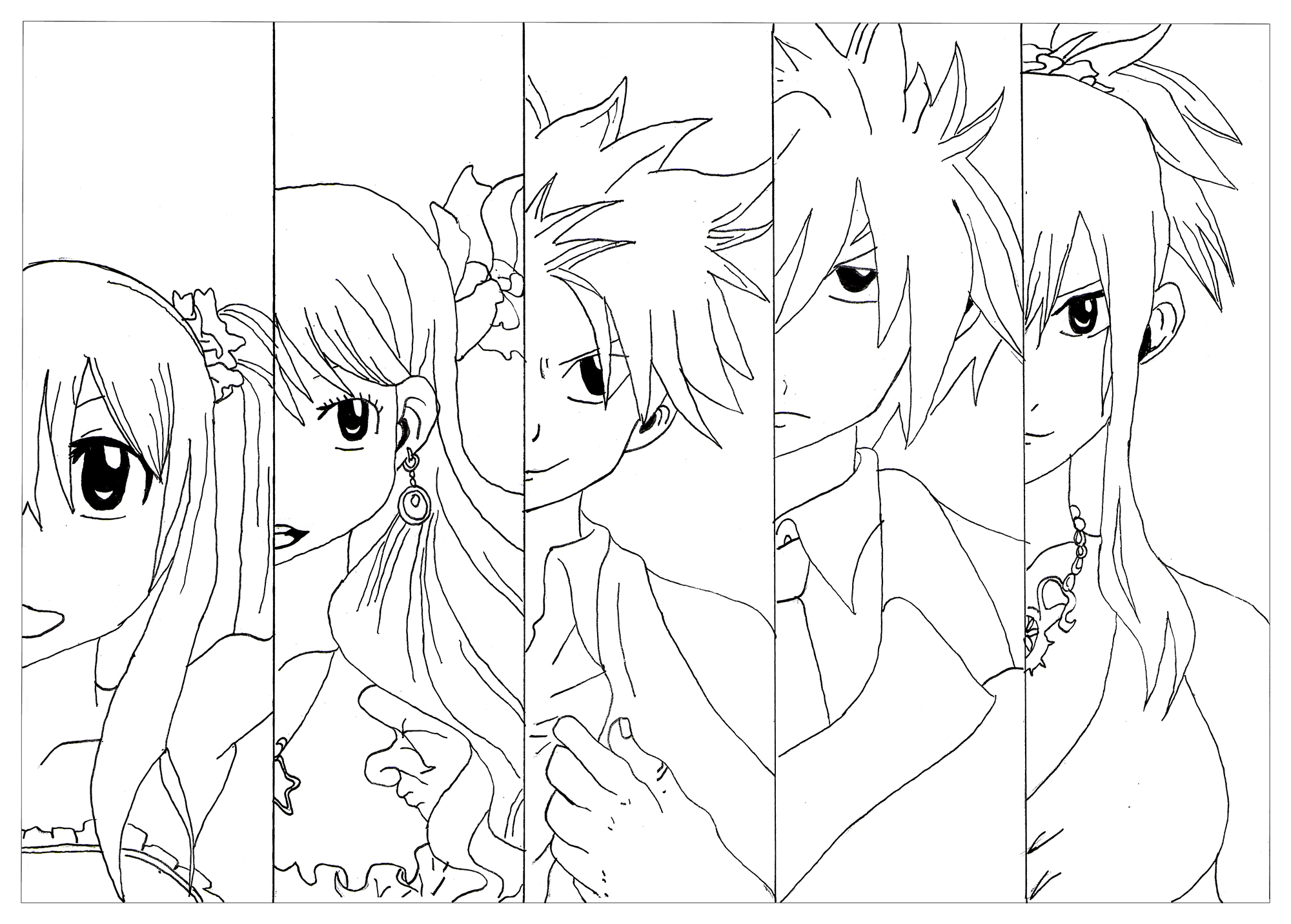 Here is a coloring page of the 5 members that form the strongest team in the Fairy tail Guild. It's Wendy, Lucy, Natsu, Grey and Erza