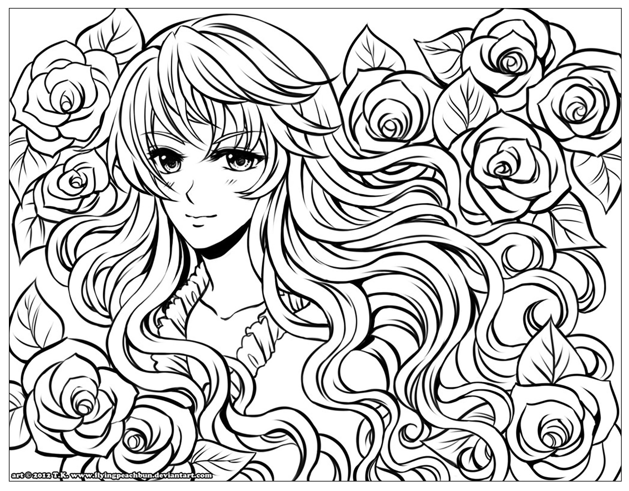 manga girl with flowers in her hair - Coloring Page Girl