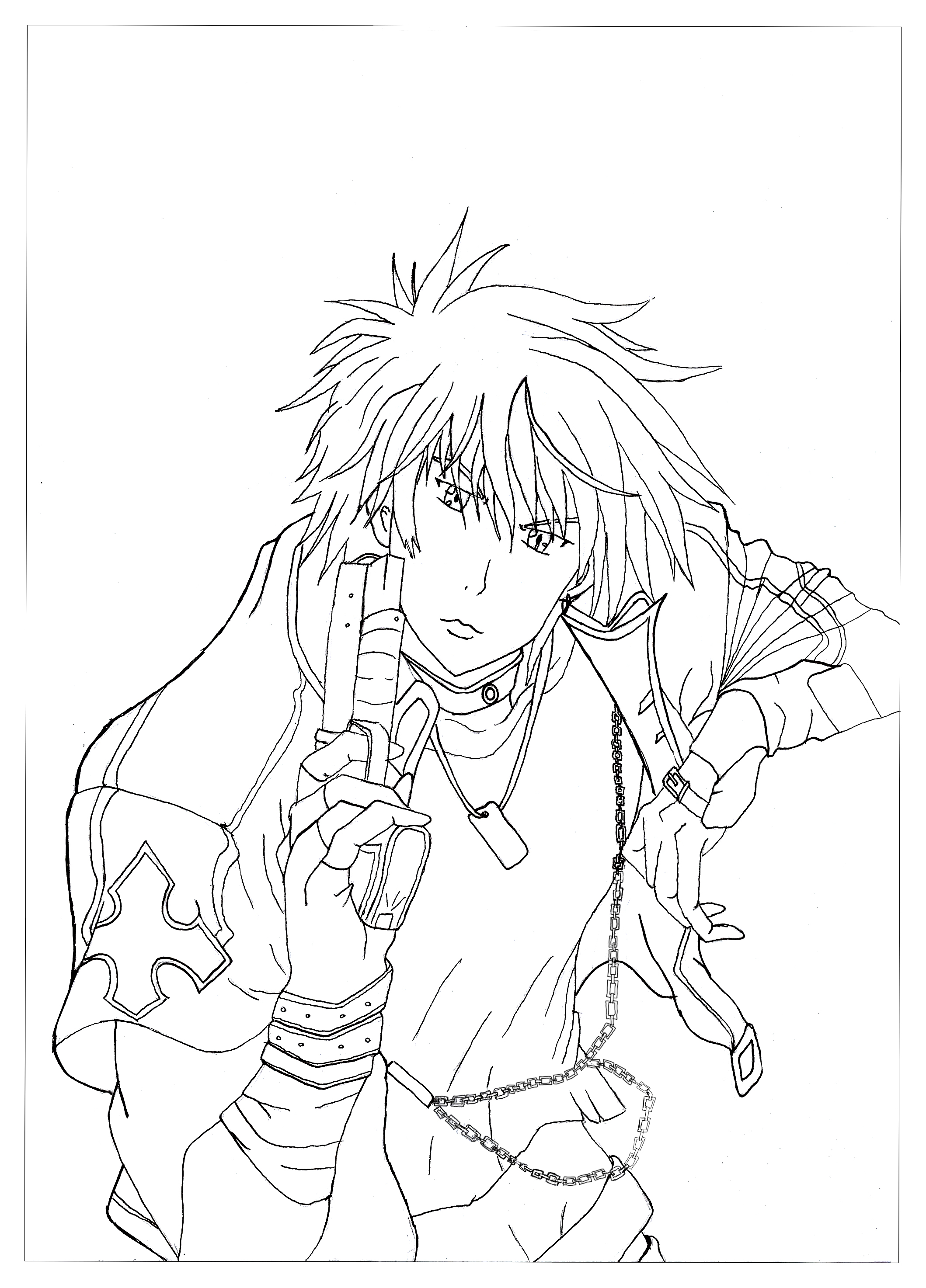 Here is a coloring page from Rayne. He's the character of the manga Neo Angelique Abyss. His role is to purify the evil spirit with his weapon.