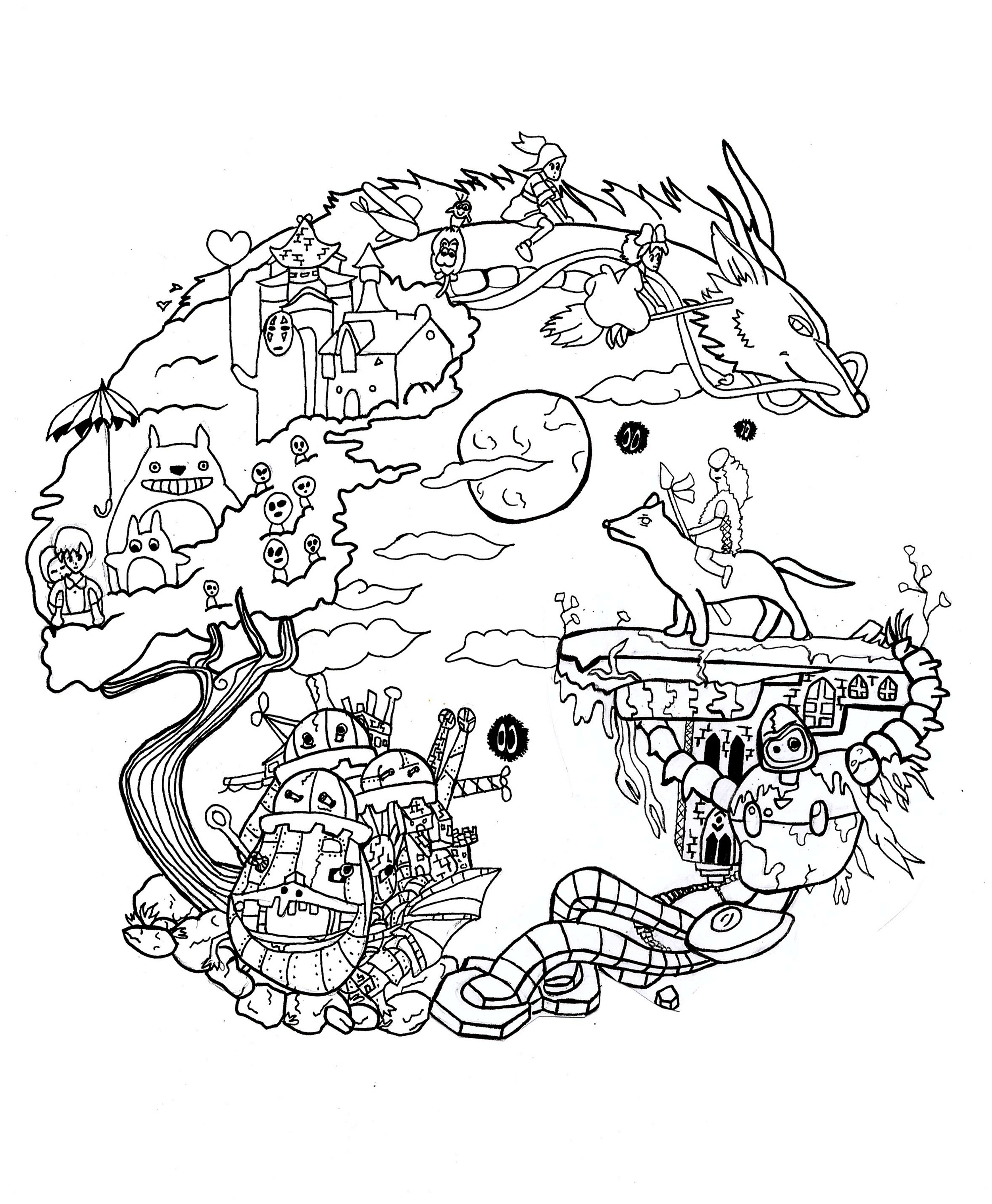 coloring studio ghibli by chloe - Manga Coloring Pages