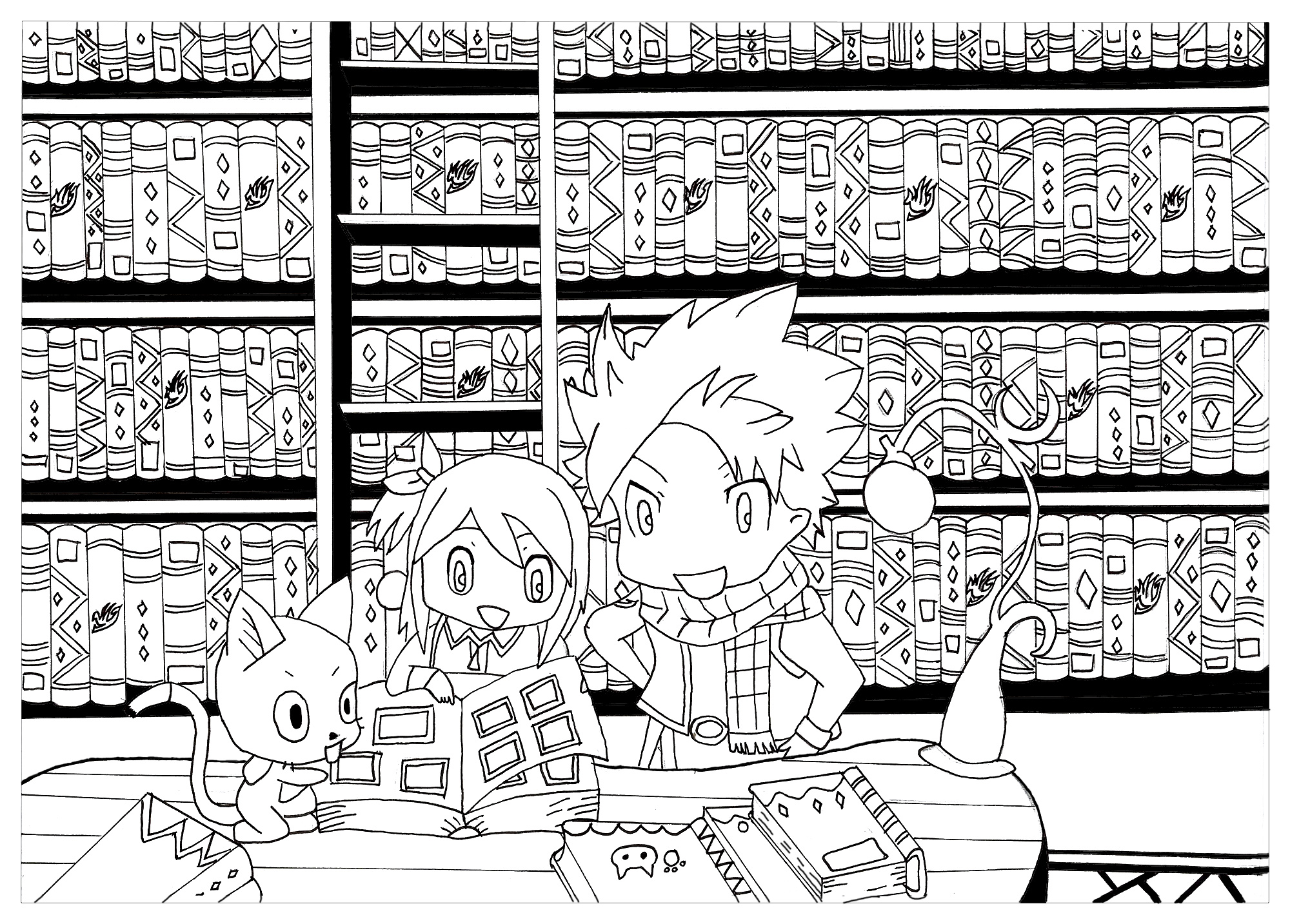 This is a coloring page with the chibi characters from Fairy Tail Natsu, Lucy and Happy.