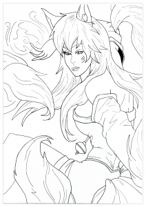 Coloriage manga ahri league of legend krissy