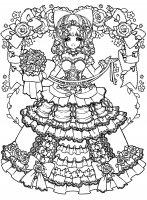 Coloring adult back to childhood manga girl dress
