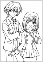 Coloring manga drawing boy and girl in school suit