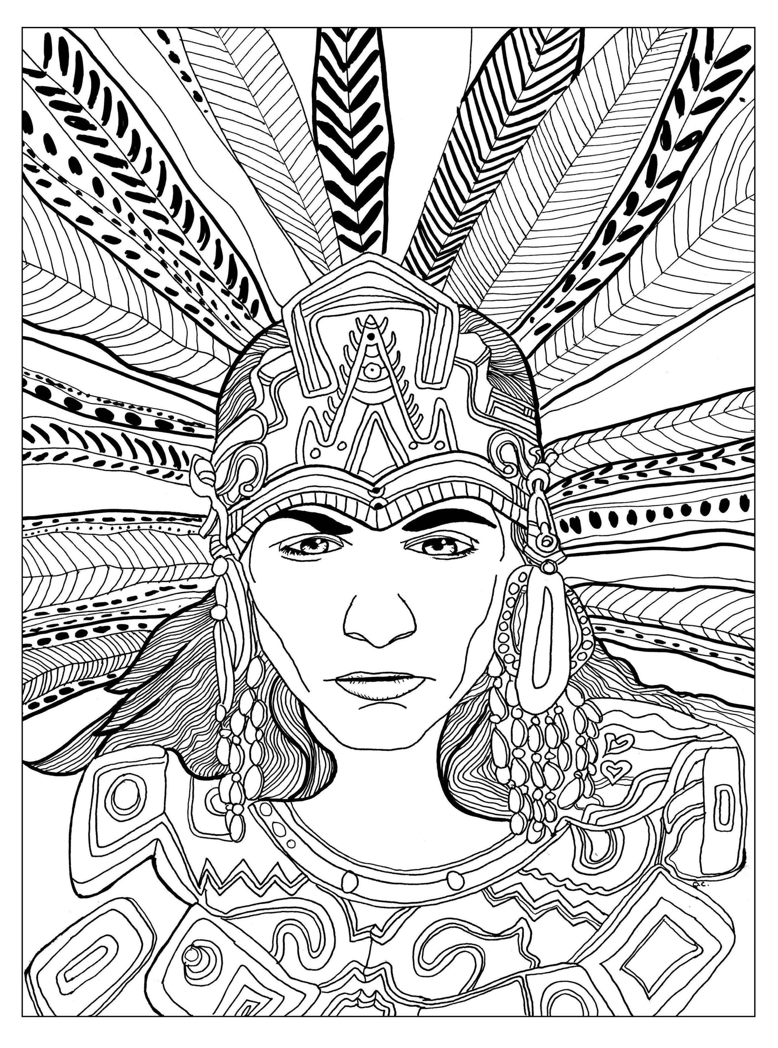 mayan coloring pages Chief mayan   Olivier   Coloring Pages for Adults mayan coloring pages
