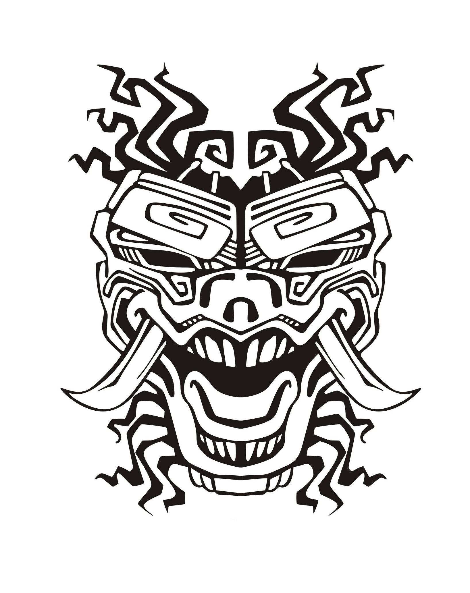 Coloring adult mask inspiration inca mayan aztec 2