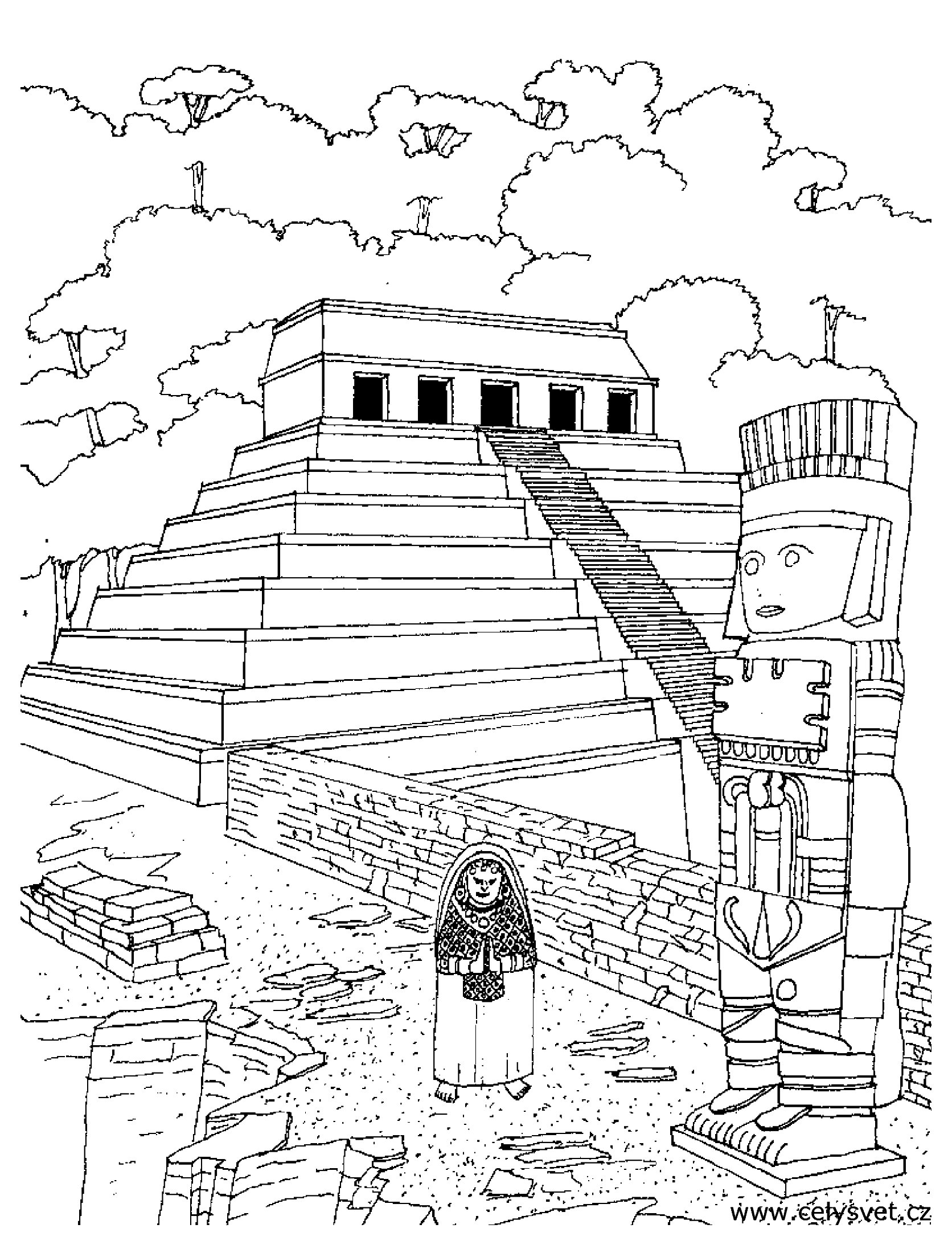Coloring page of an Aztec Temple