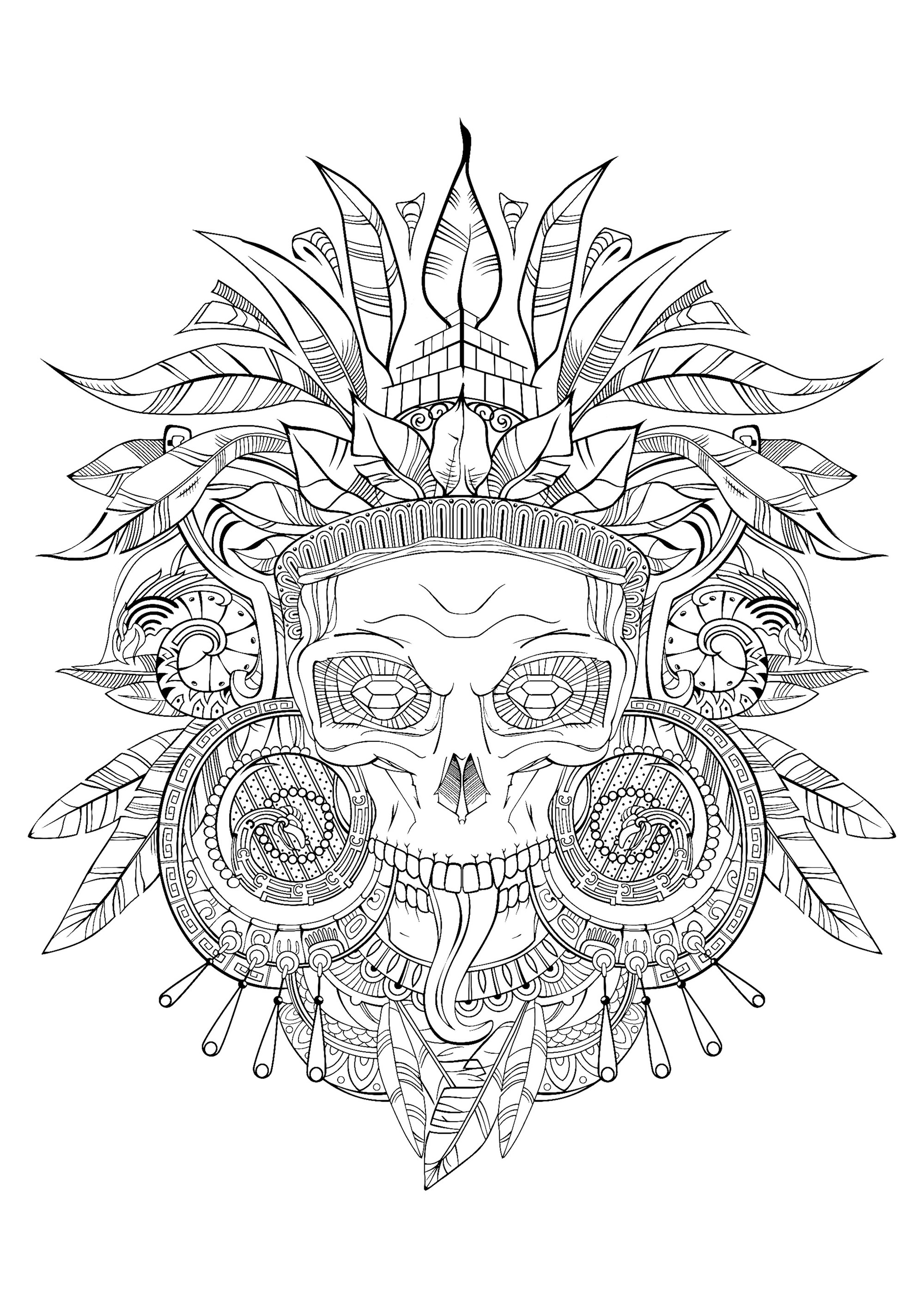 Coloring aztec skull black white