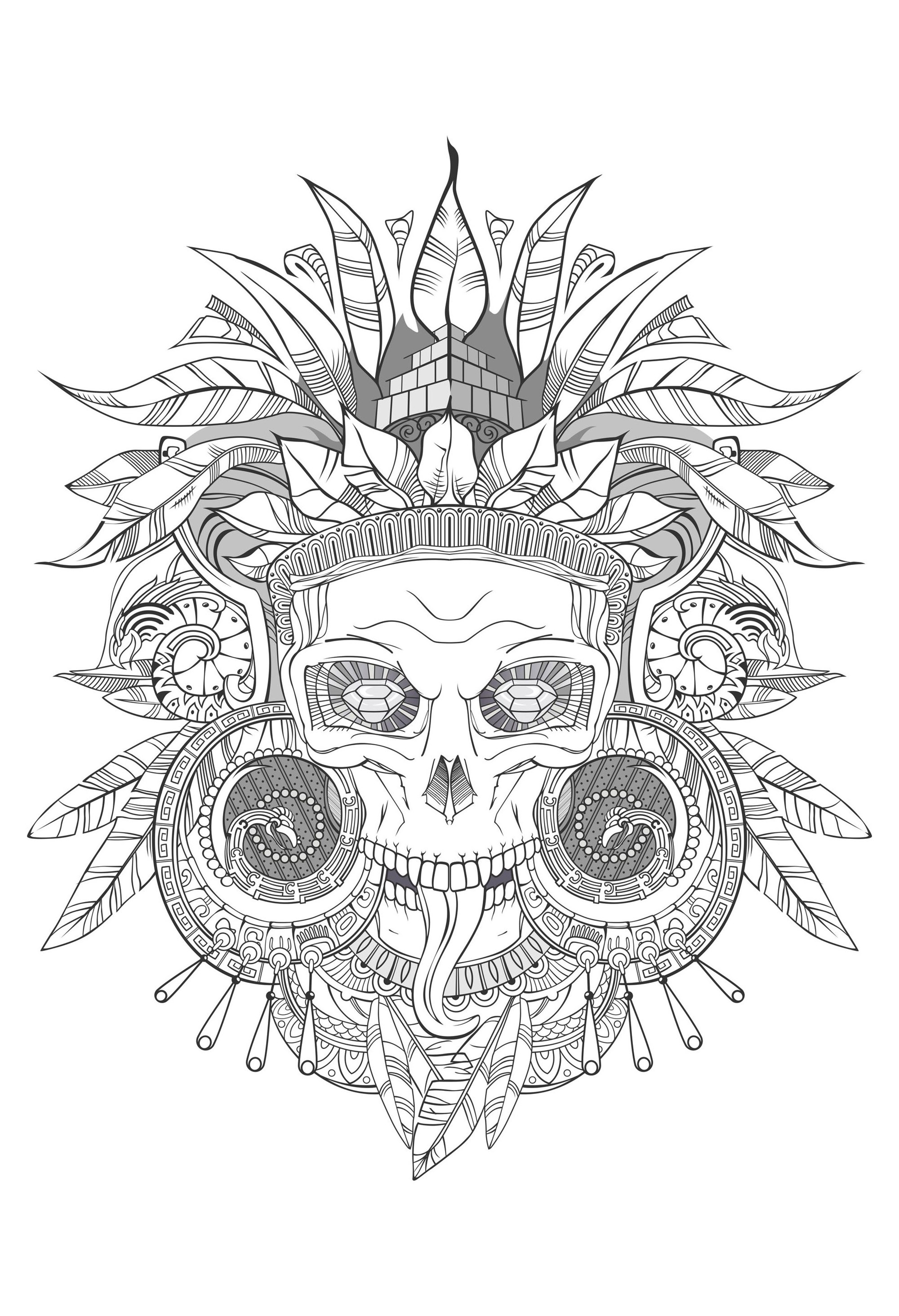 Coloring aztec skull shades of grey
