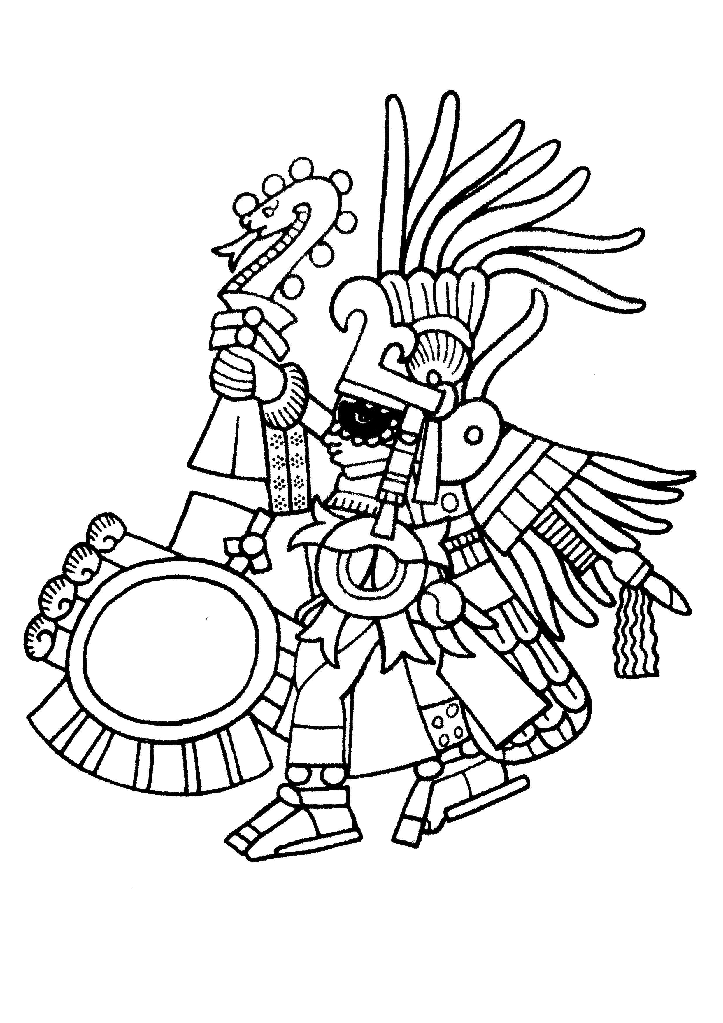 Huitzilopochtli, the Aztec supreme deity and God of War, brandishes aloft a Xiuhcoatl fire serpent staff