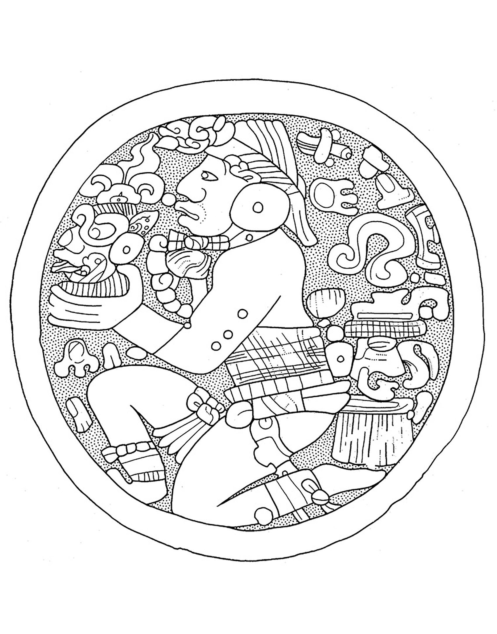 Early Classic Lowland Mayan Ear Flare plaque in the De Young Museum. Drawing by N. Carter.