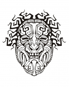 coloring adult mask inspiration inca mayan aztec 1