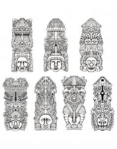 coloring adult totems inspiration inca mayan aztec