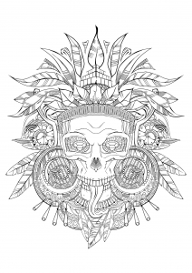 coloring-aztec-skull-black-white