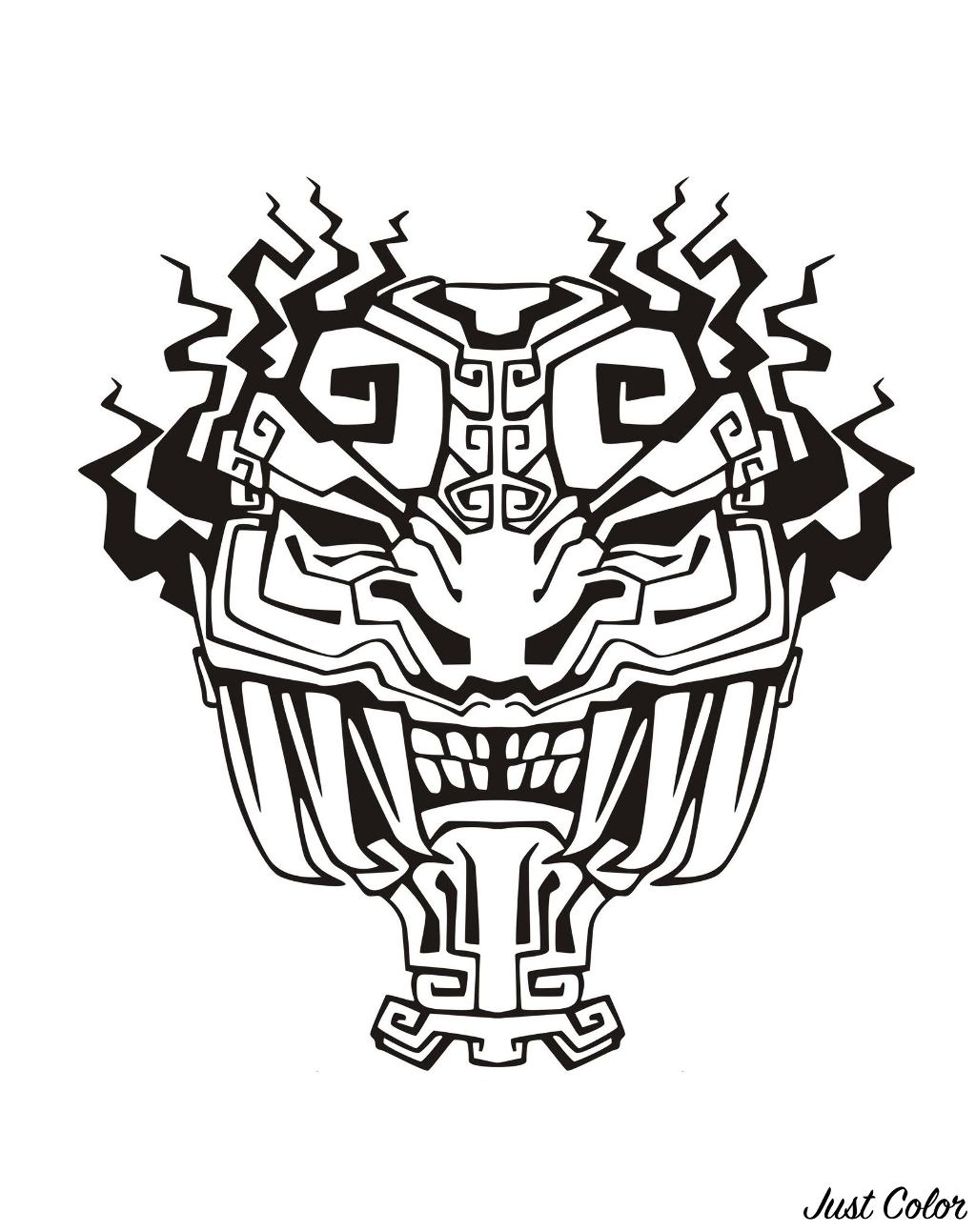 Mask inspired by Aztecs, Mayans and Incas - 4