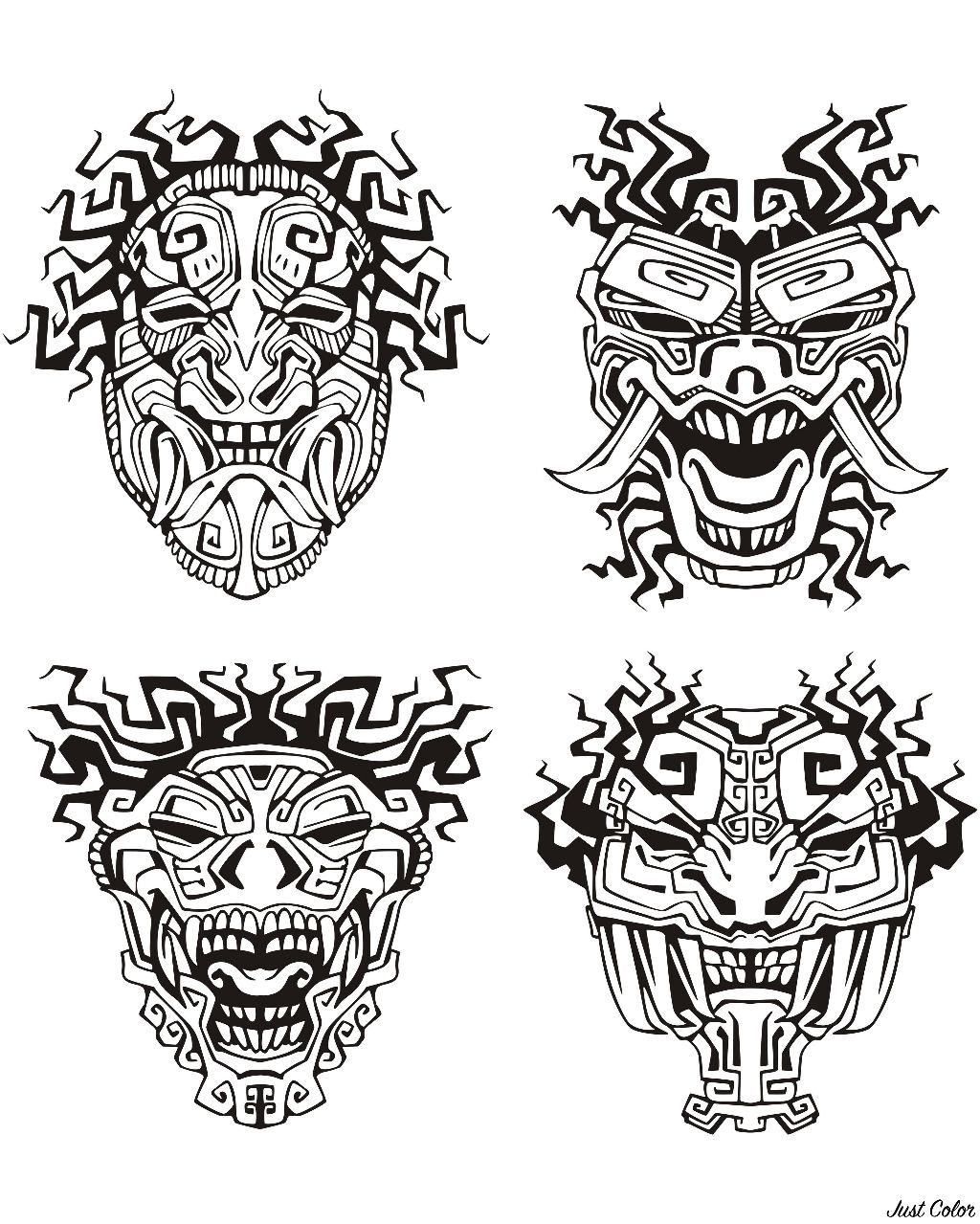 Masks inspired by Aztecs, Mayans and Incas