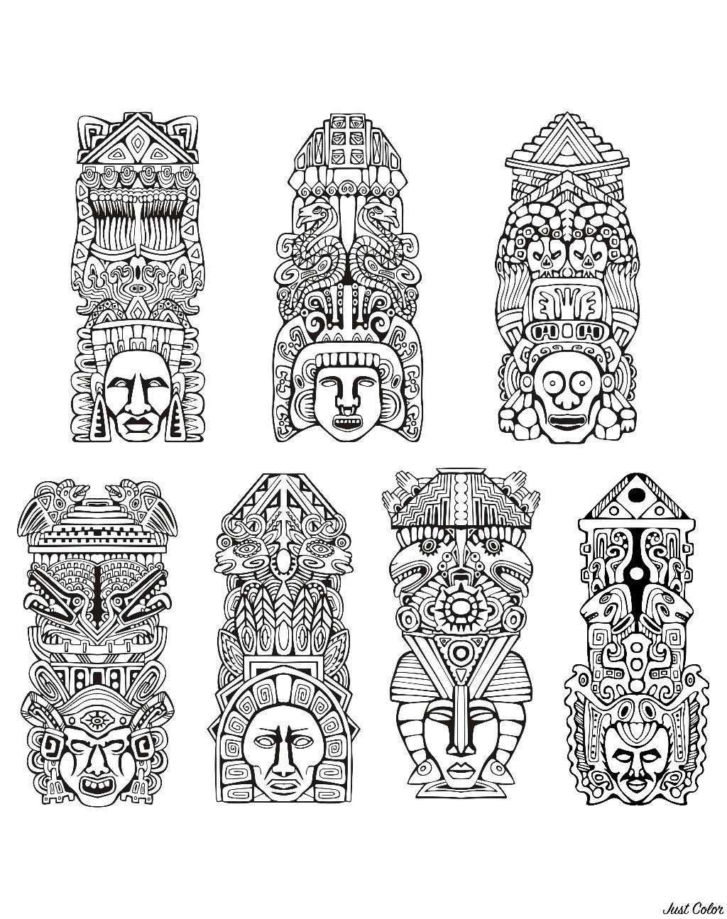 Totems inspired by Aztecs, Mayans and Incas