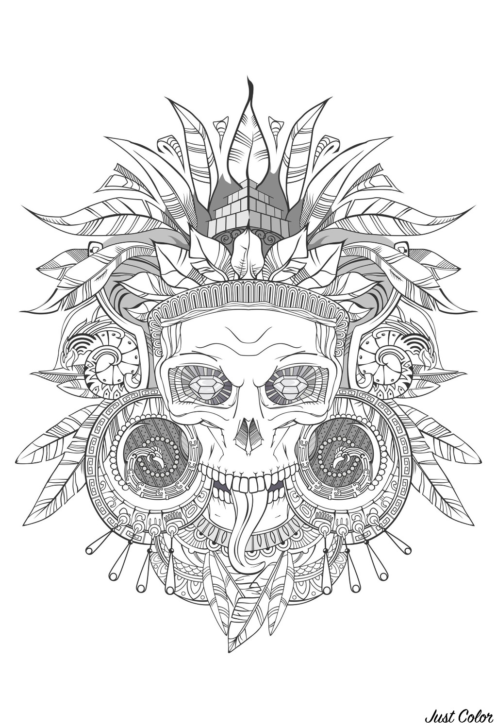 Incredible Aztec skull - with shades of gray