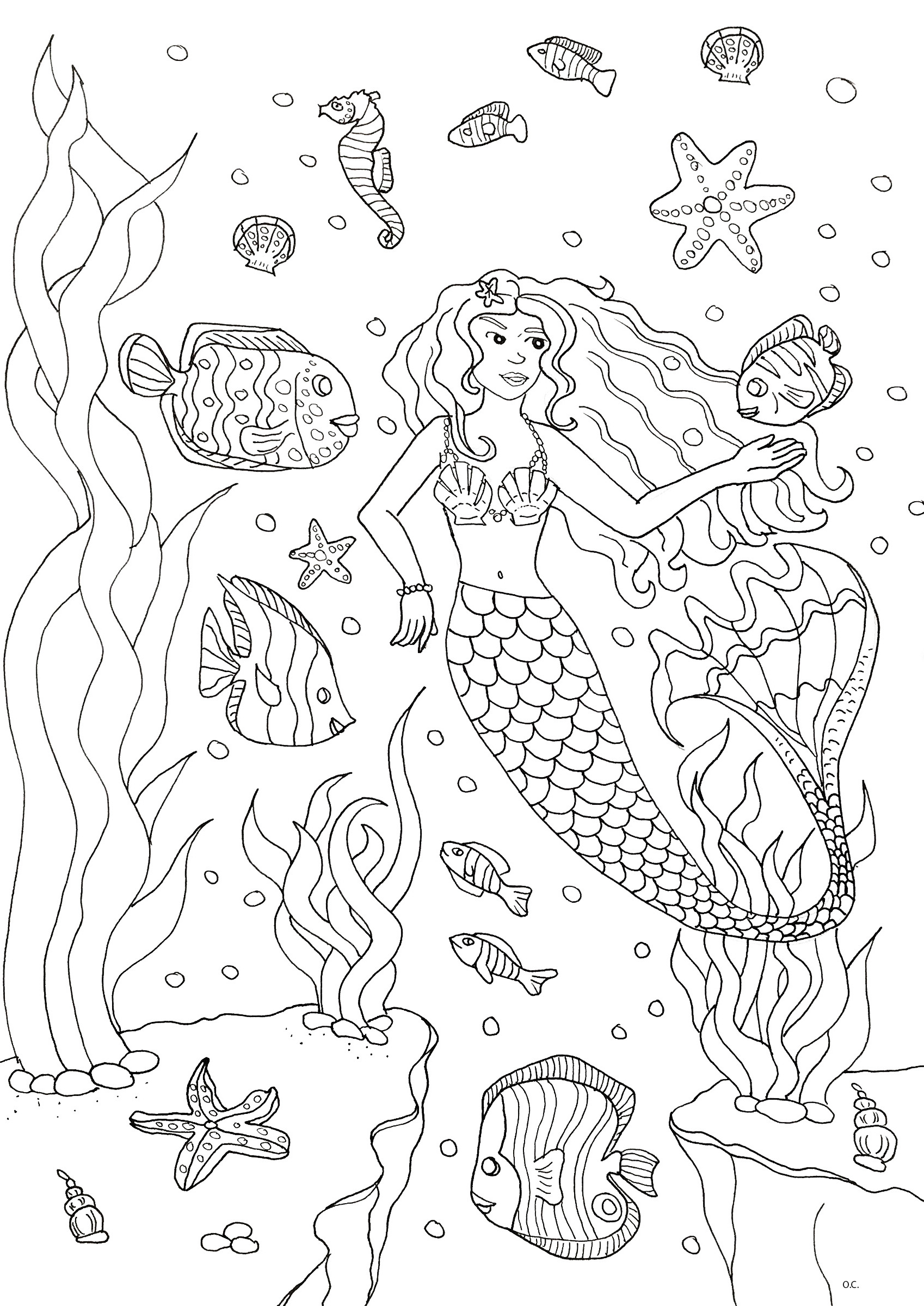 Coloring page of a cute mermaid with fishes