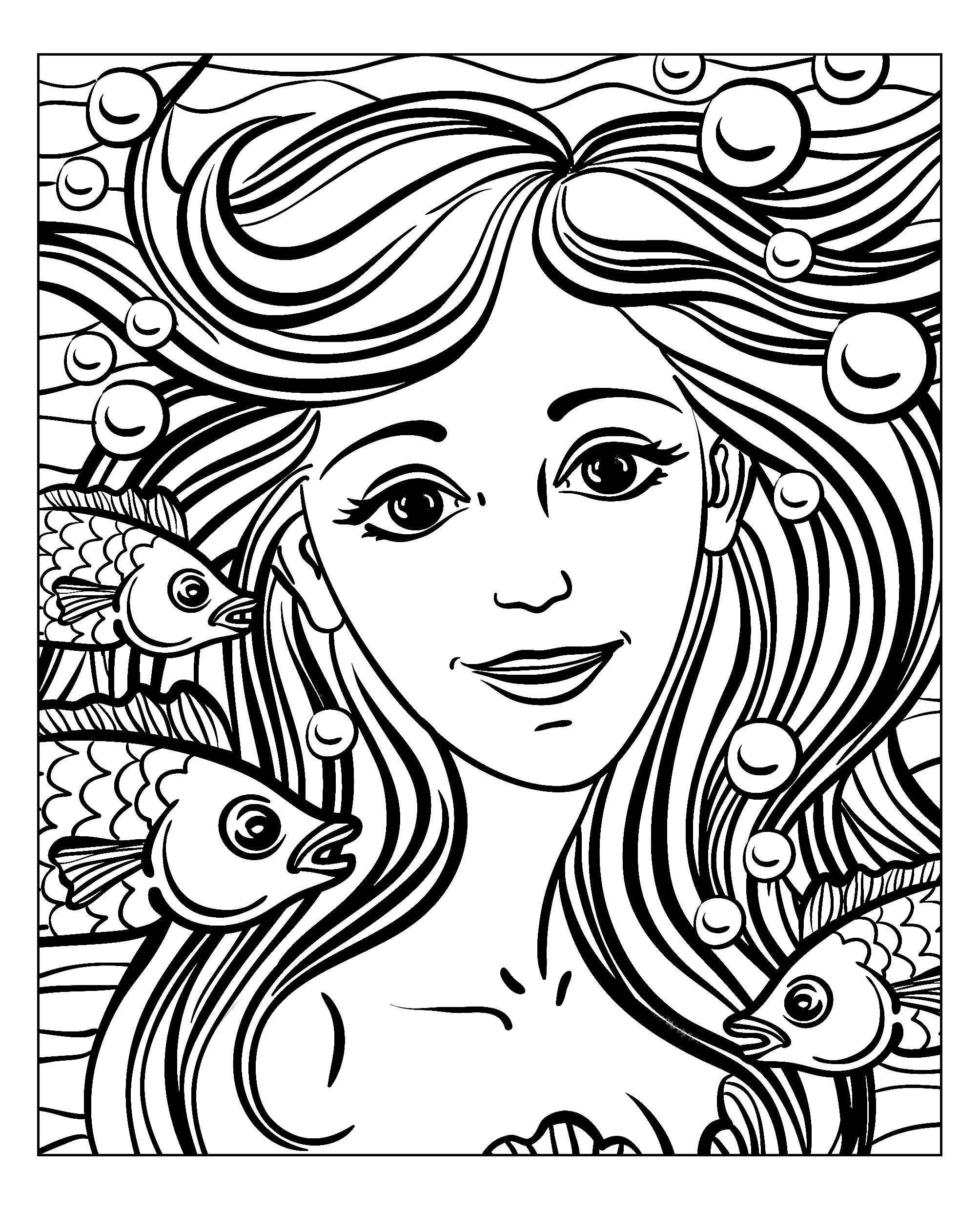 Mermaid beautiful face, exclusive coloring page for adult, by Natuskadpi