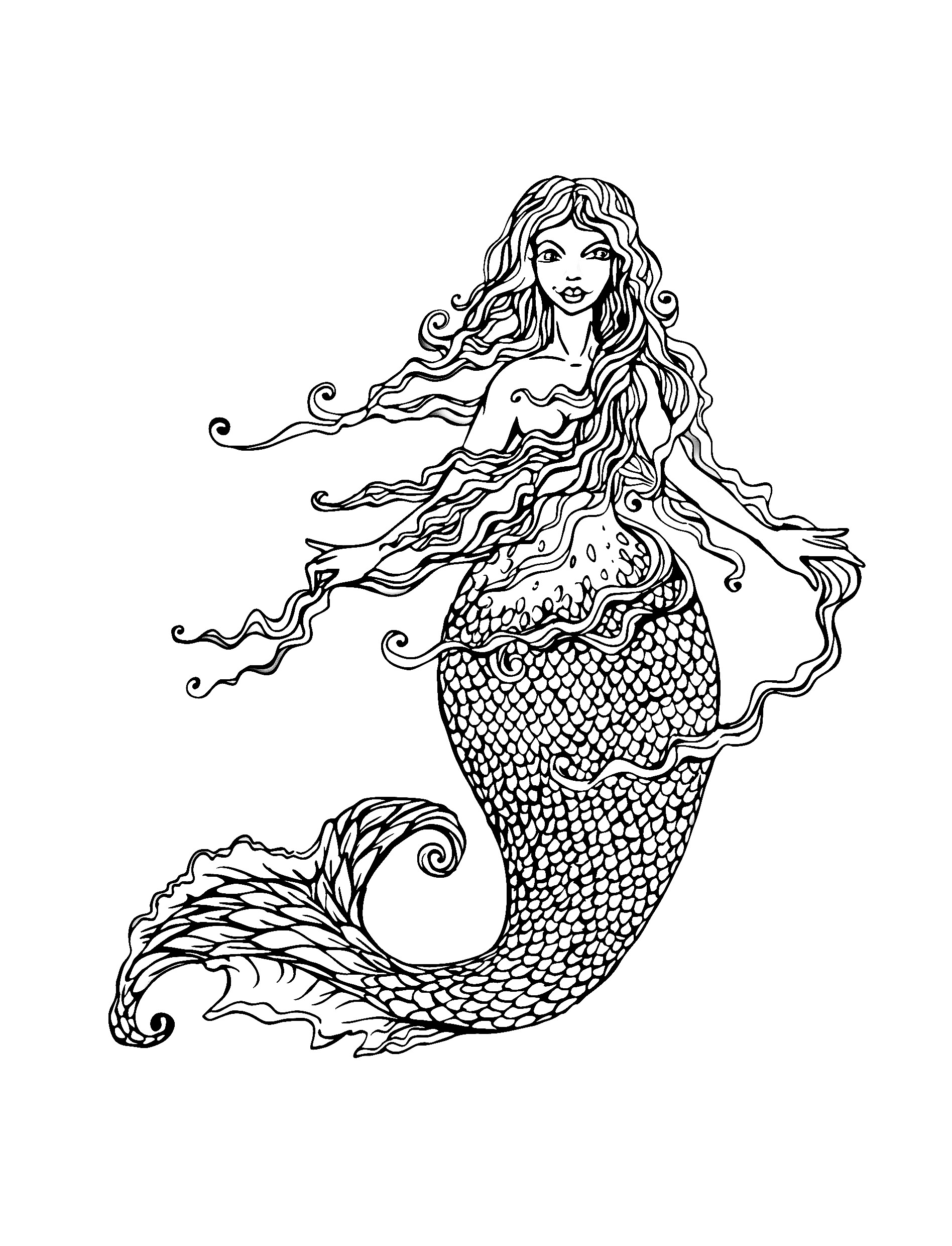 mermaid adult coloring pages Mermaid with long hair   Mermaids Adult Coloring Pages mermaid adult coloring pages